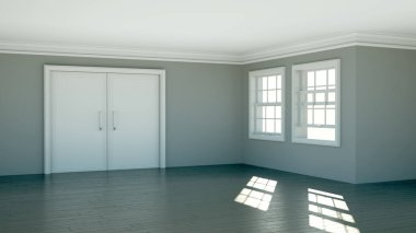 Empty room with white walls, windows and parquet