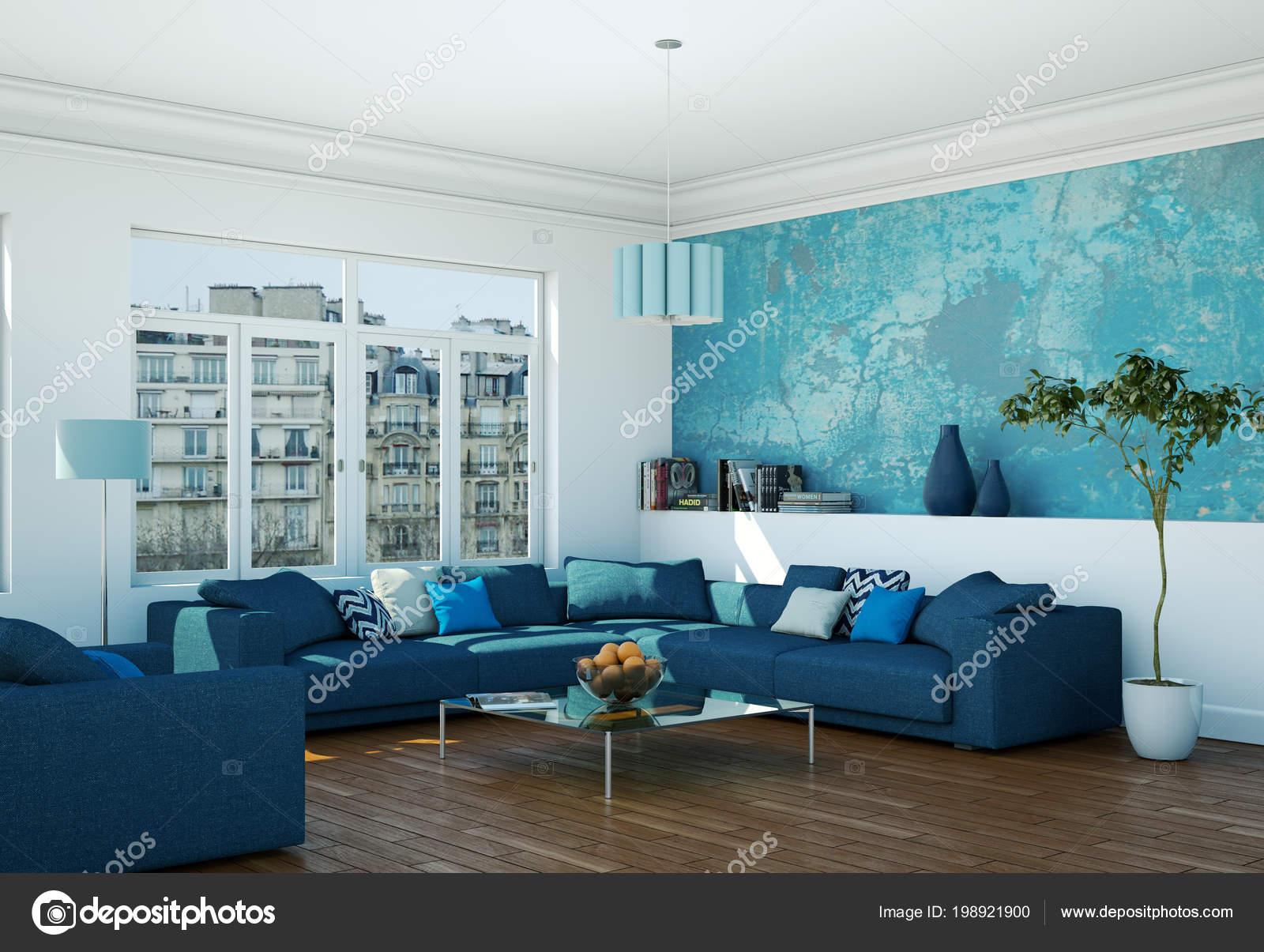 Arredamento moderno luminoso soggiorno con divani blu for Arredamento casa bianco