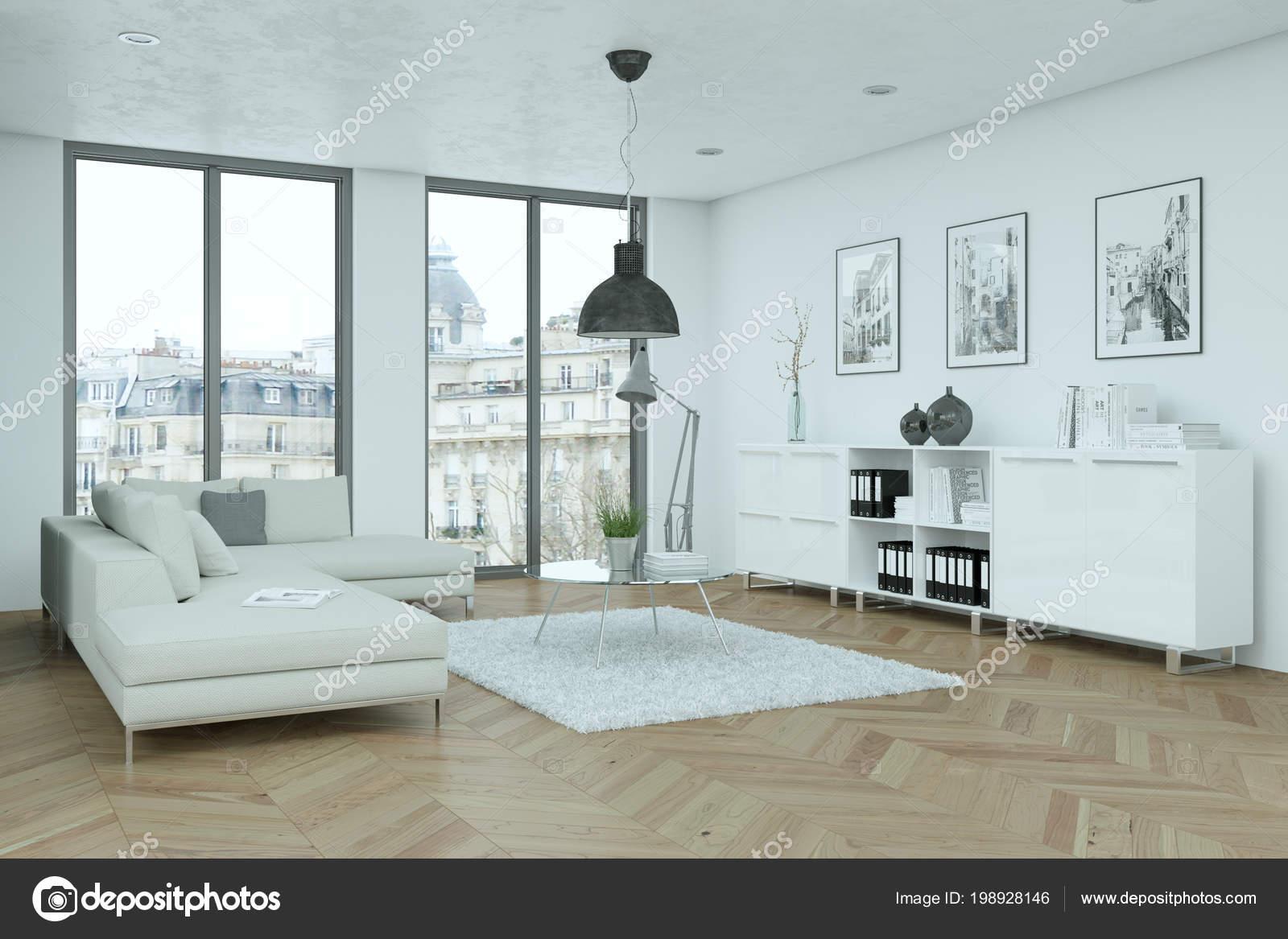 moderne helle skandinavische Innenarchitektur Wohnzimmer — Stockfoto ...