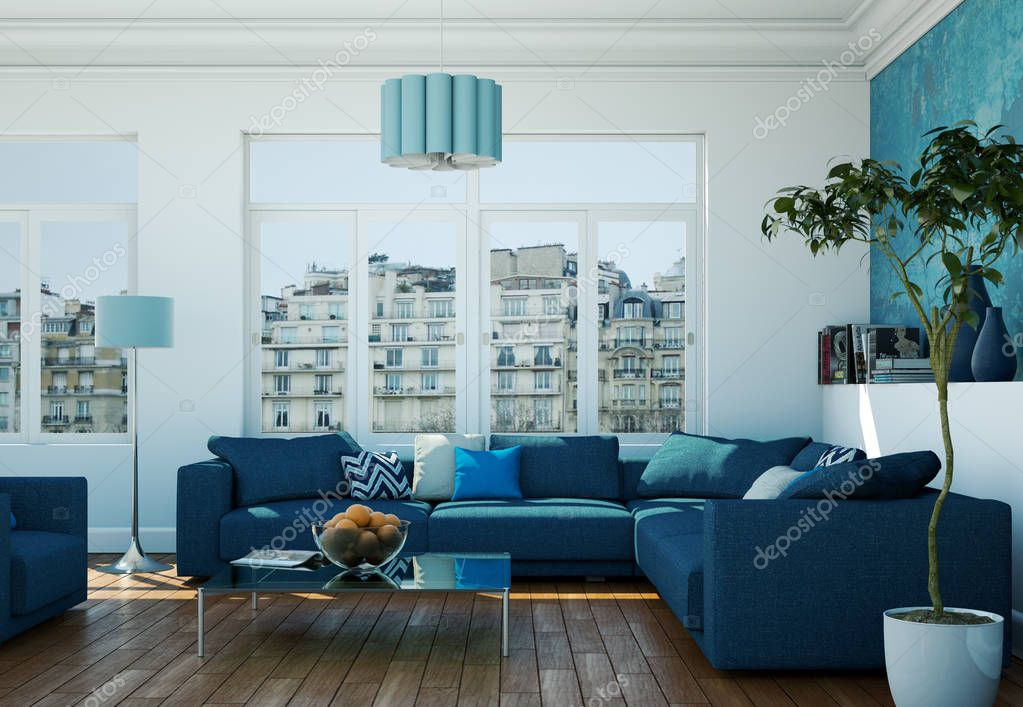 Modern bright living room interior design with blue sofas