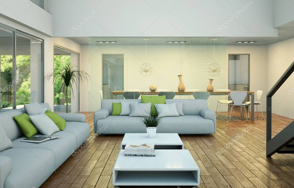 Modern bright loft interior design with sofa and dining table