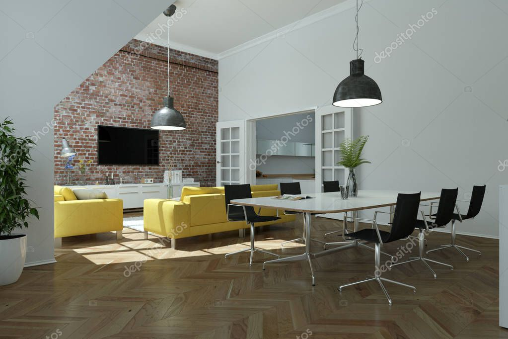 modern bright skandinavian interior design living room with yellow sofas