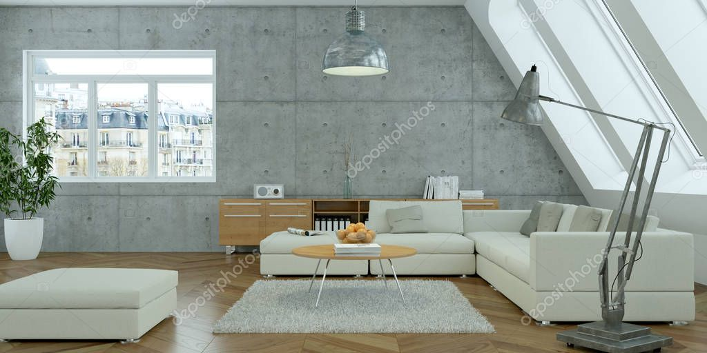 modern bright skandinavian interior design living room with concrete wall