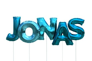 Name jonas made of blue inflatable balloons isolated on white background