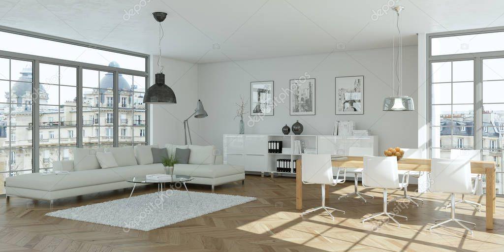 modern bright skandinavian flat interior design