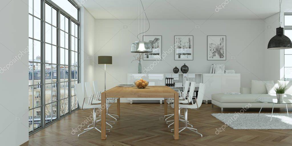 modern bright skandinavian interior design dining room