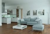 moderne helle flache Inneneinrichtung mit Sofa