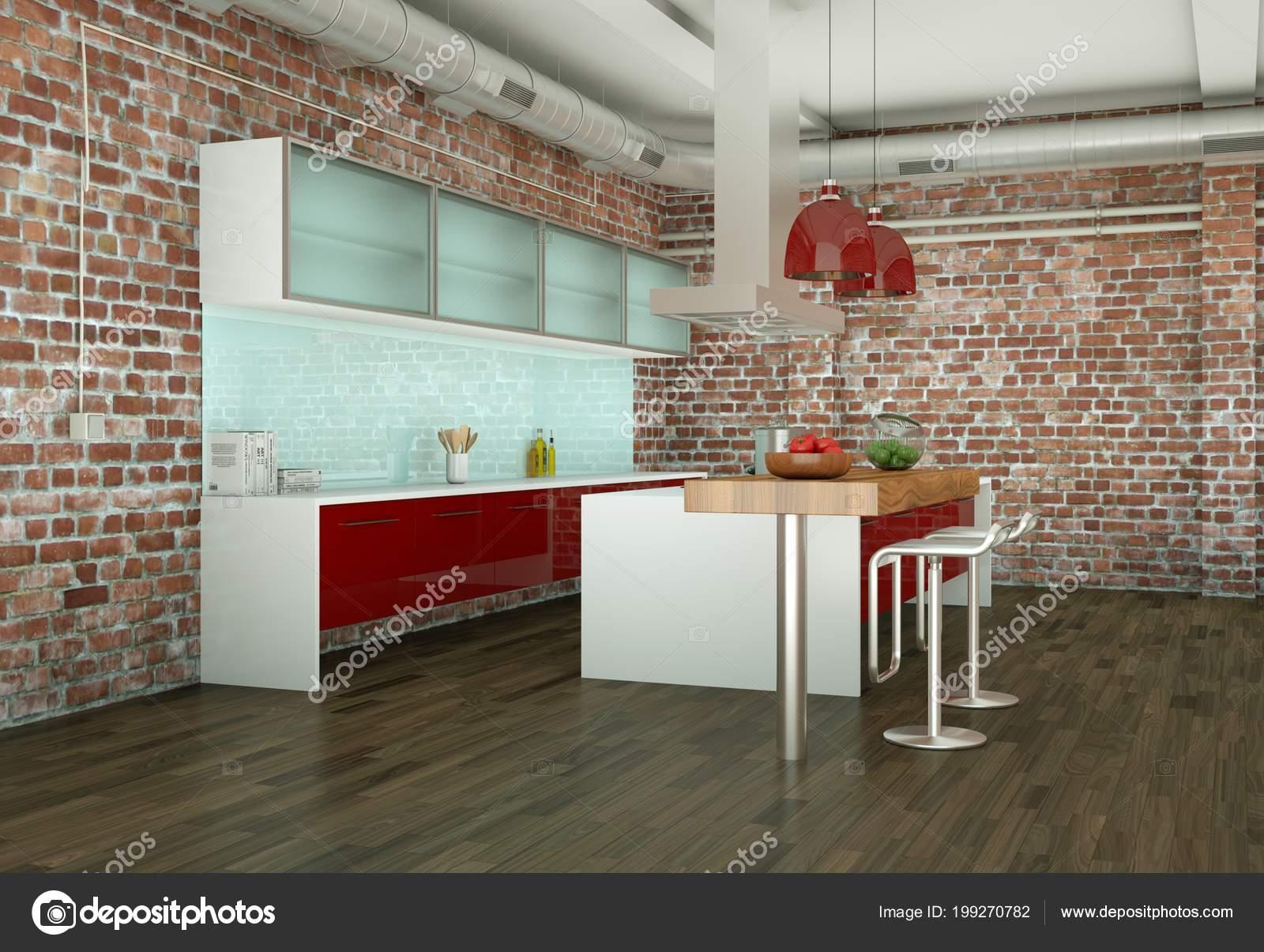 Cucina rossa moderna in una stanza con muro in pietra — Foto Stock ...