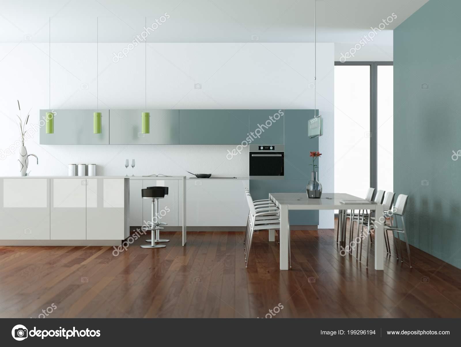 Cucina moderna blu in una stanza con muro in pietra — Foto Stock ...