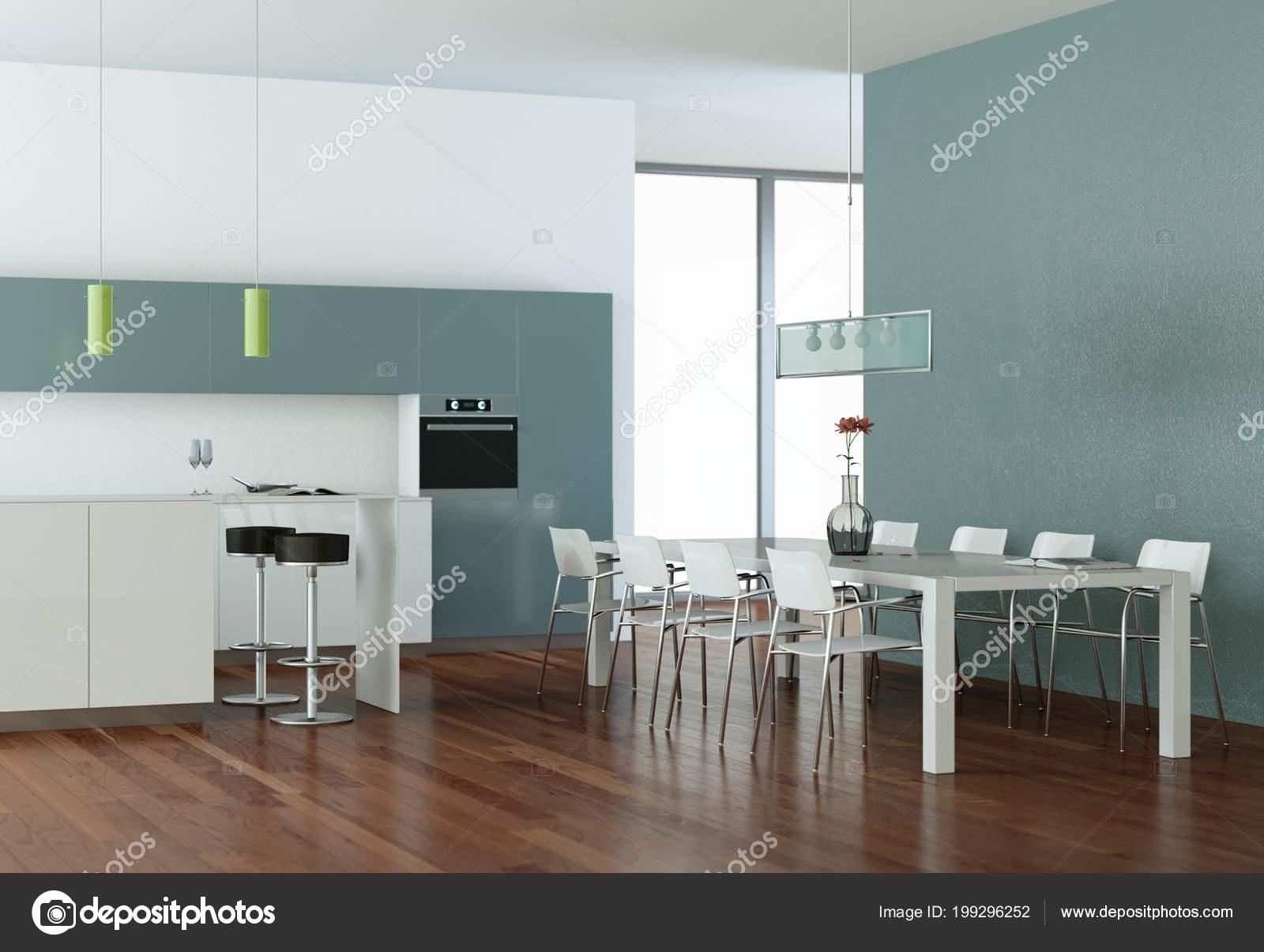 Blaue moderne Küche in einem Raum mit Steinmauer — Stockfoto ...