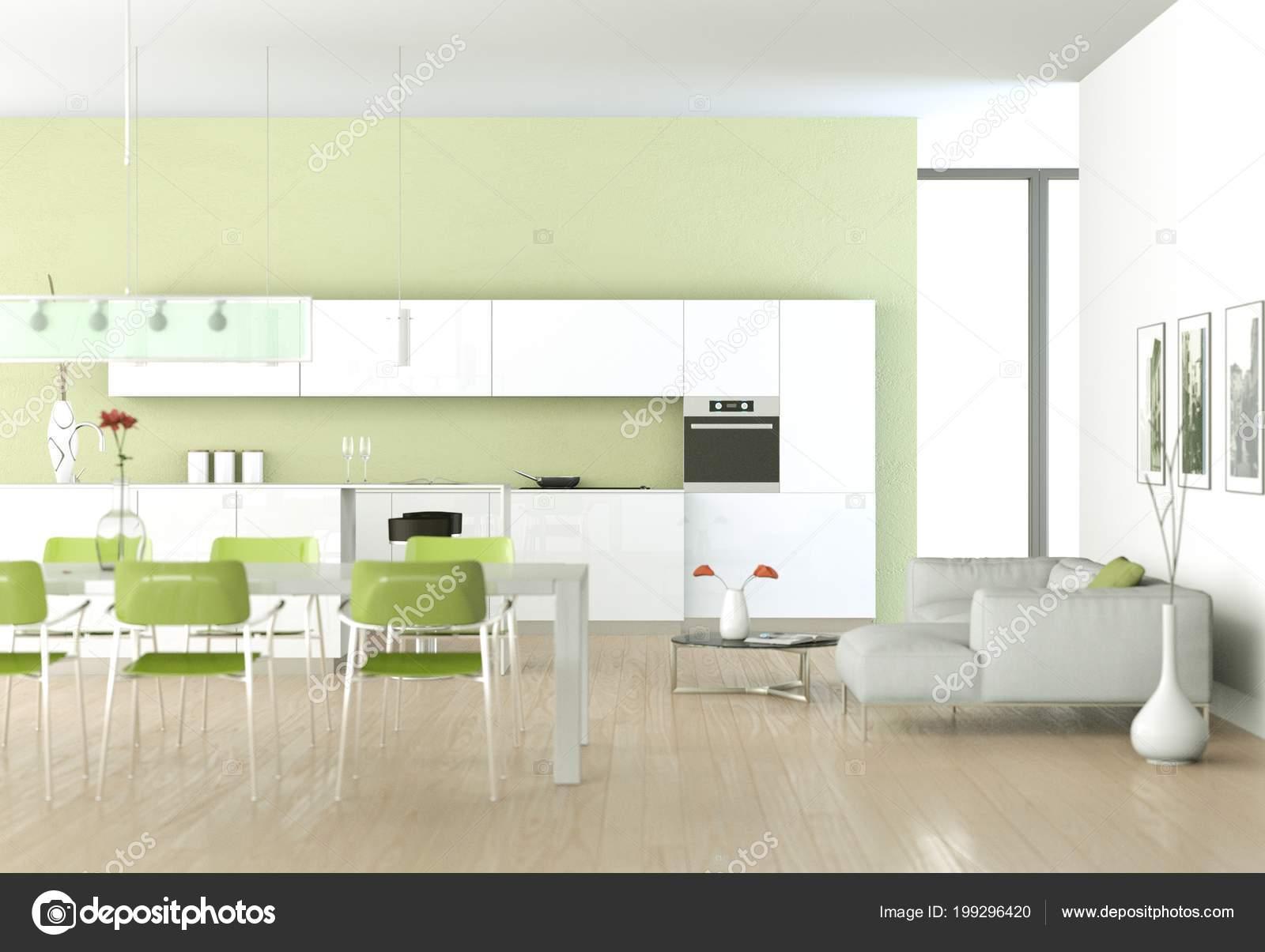 Cucina moderna verde in una stanza con muro in pietra — Foto Stock ...