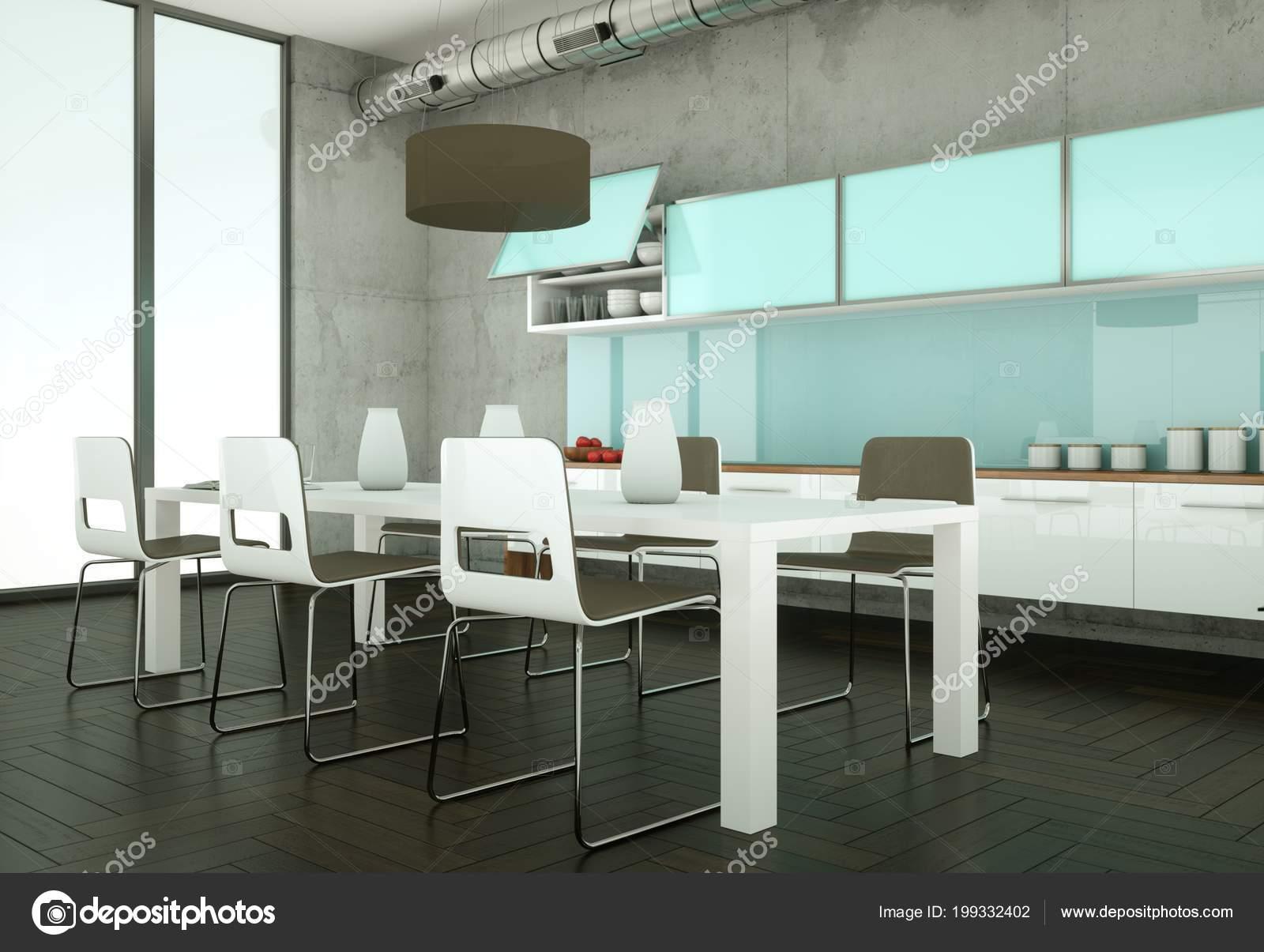 Keuken Beton Moderne : Heldere moderne keuken in een kamer met betonnen wand u2014 stockfoto