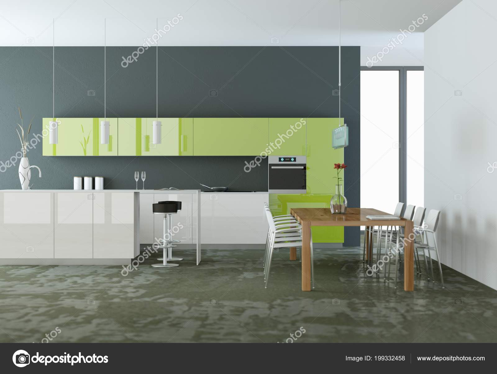Cozinha Moderna Verde Em Uma Sala Com Parede Cinza Stock Photo
