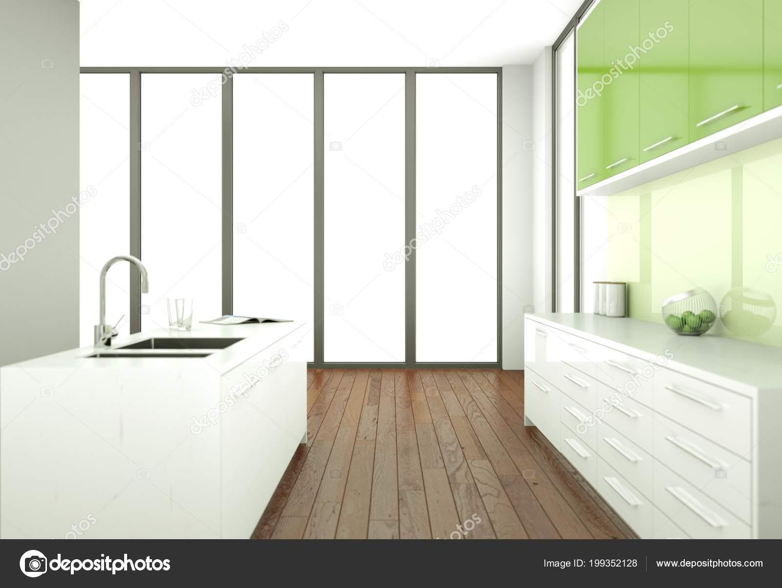 Cuisine moderne verte dans une chambre avec mur gris ...