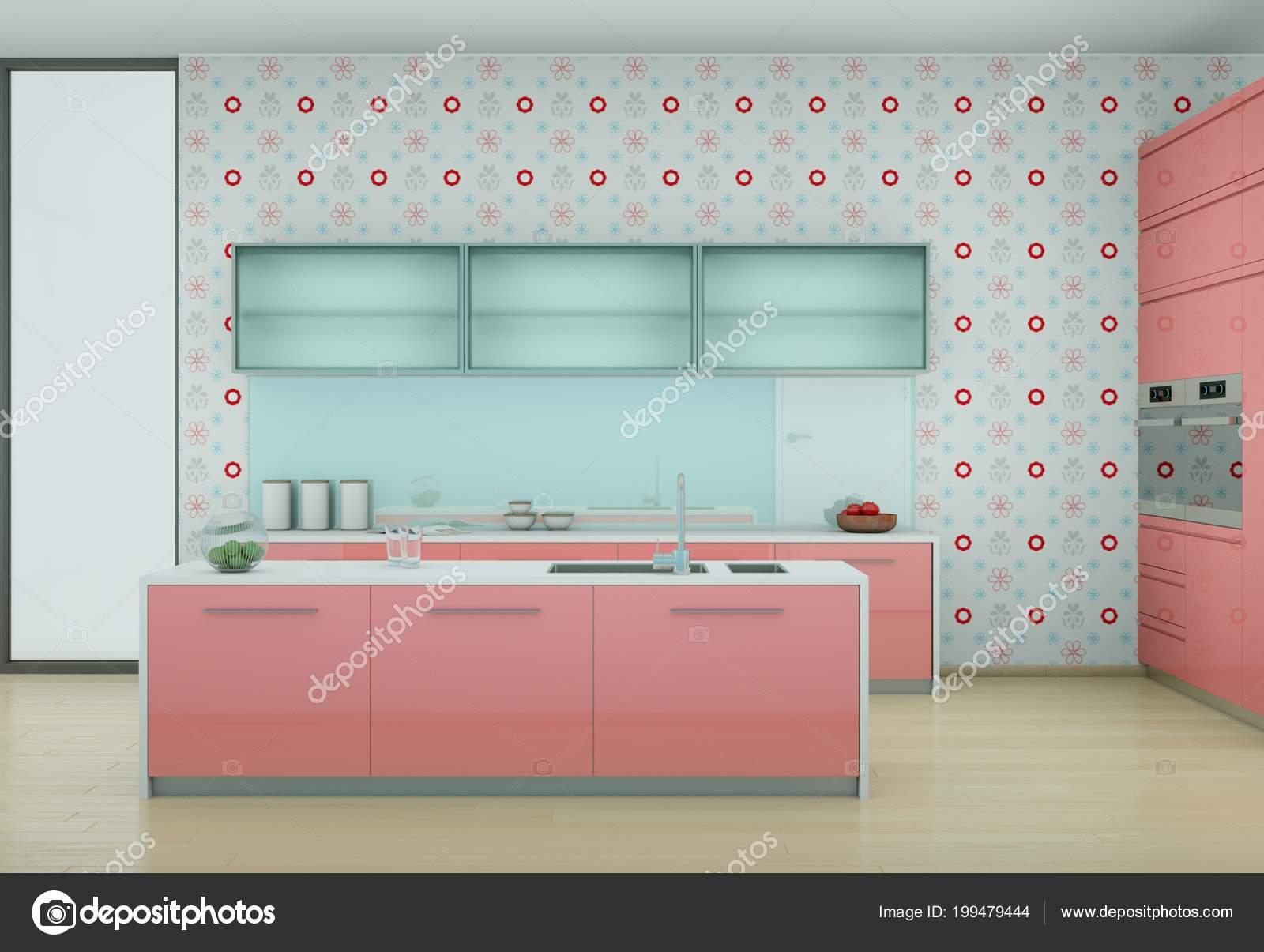 Rosa, moderne Küche mit Vintage Tapete — Stockfoto © virtua73 #199479444