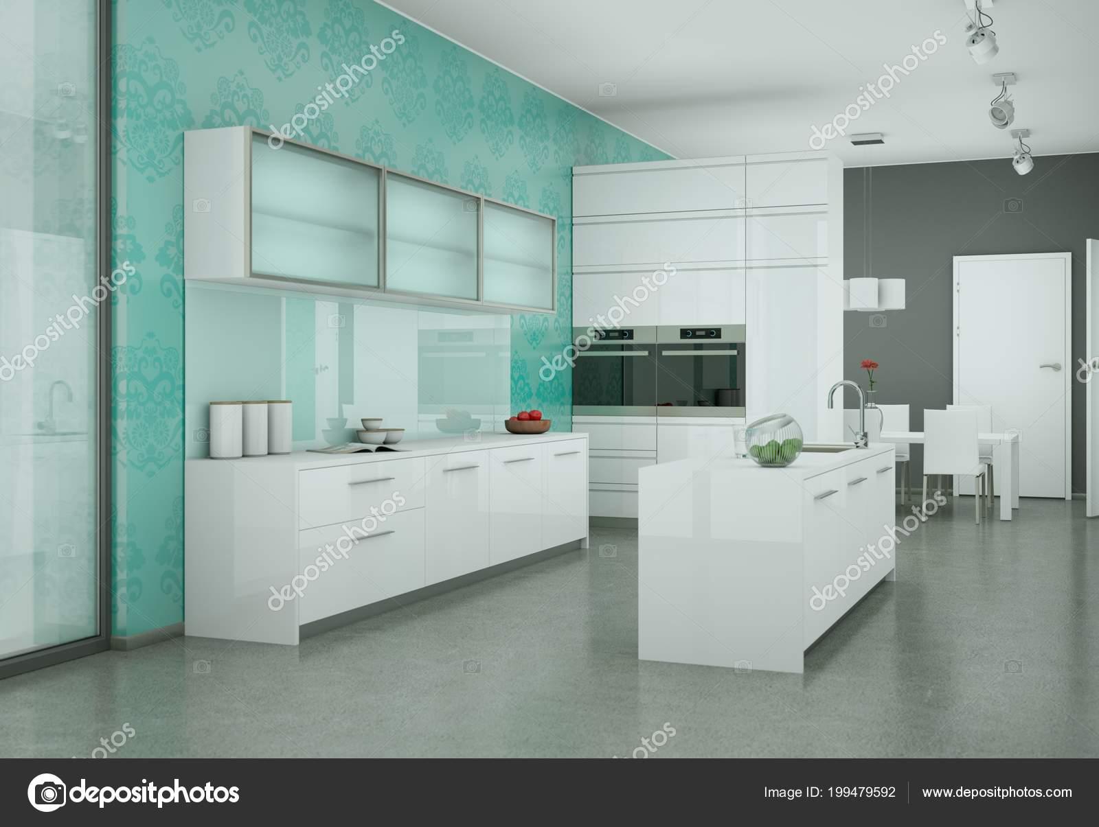 Weiße moderne Küche mit Vintage Tapete — Stockfoto © virtua73 #199479592