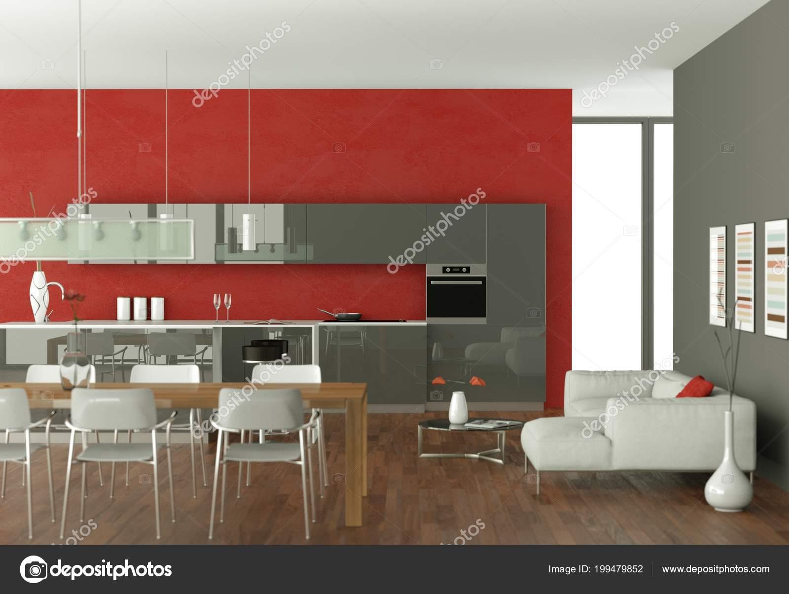 Cucina moderna grigio con carta da parati rossa — Foto Stock ...