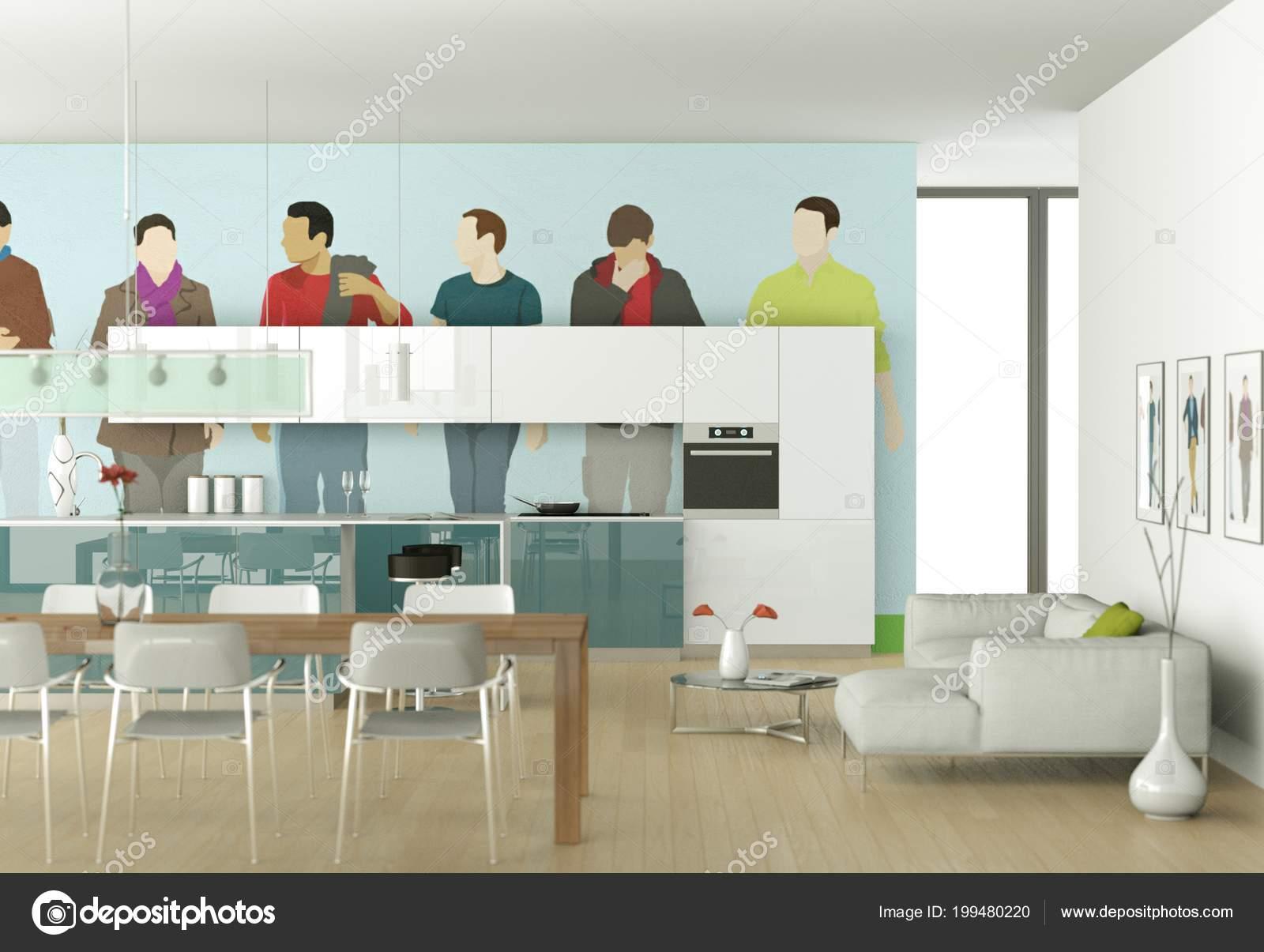 Cozinha Moderna Branca Com Papel De Parede Quadrinhos Stock Photo