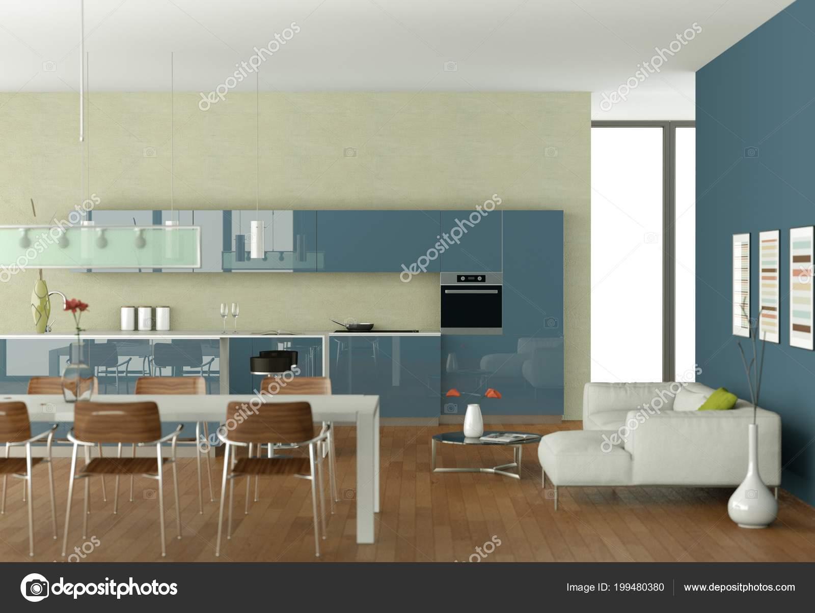 Blaue moderne Küche mit Esstisch und weißen sofa — Stockfoto ...