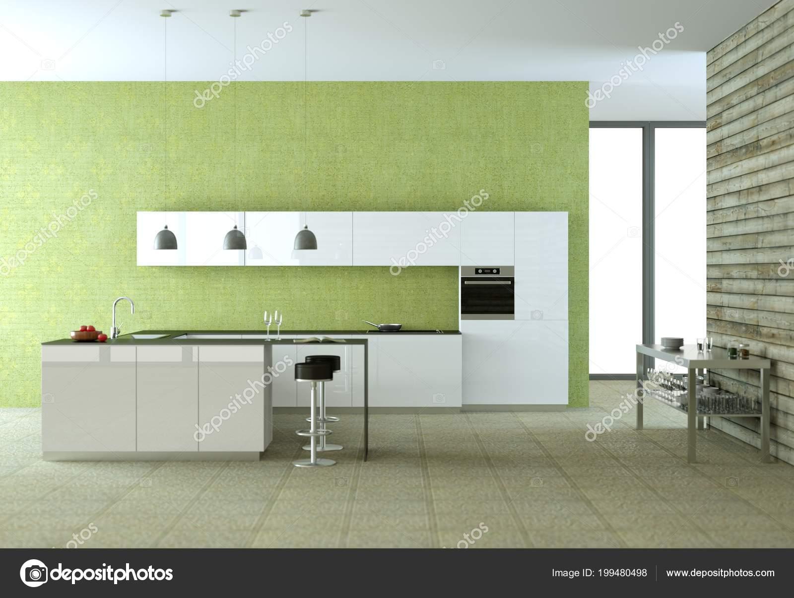 Weiße moderne Küche mit grüne Tapete — Stockfoto © virtua73 #199480498