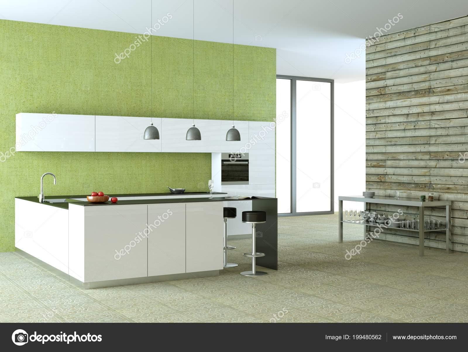 Cuisine moderne blanc avec un papier peint vert photographie virtua73 199480562 - Papier peint cuisine moderne ...