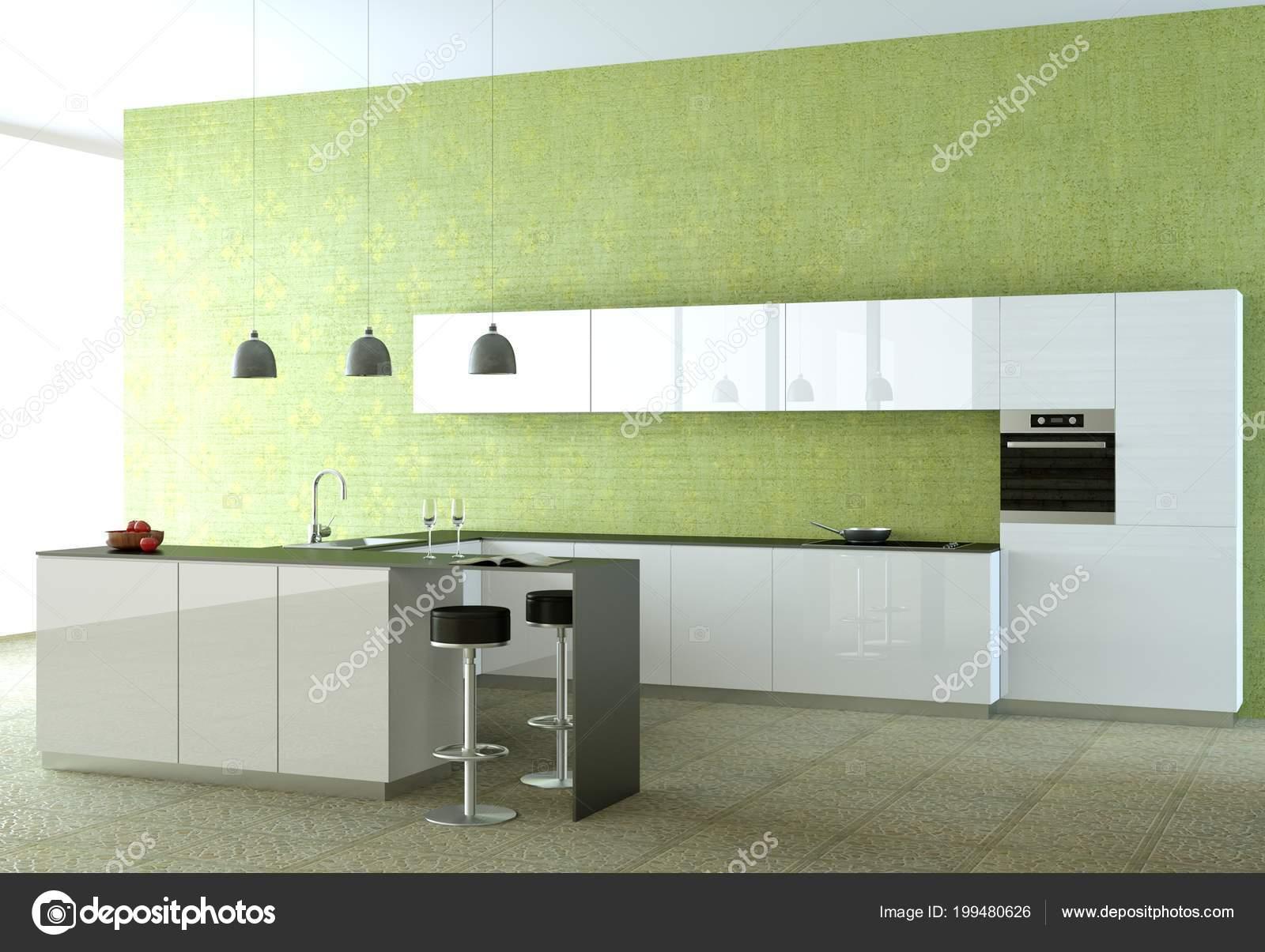 Cozinha Moderna Branca Com Papel De Parede Verde Stock Photo