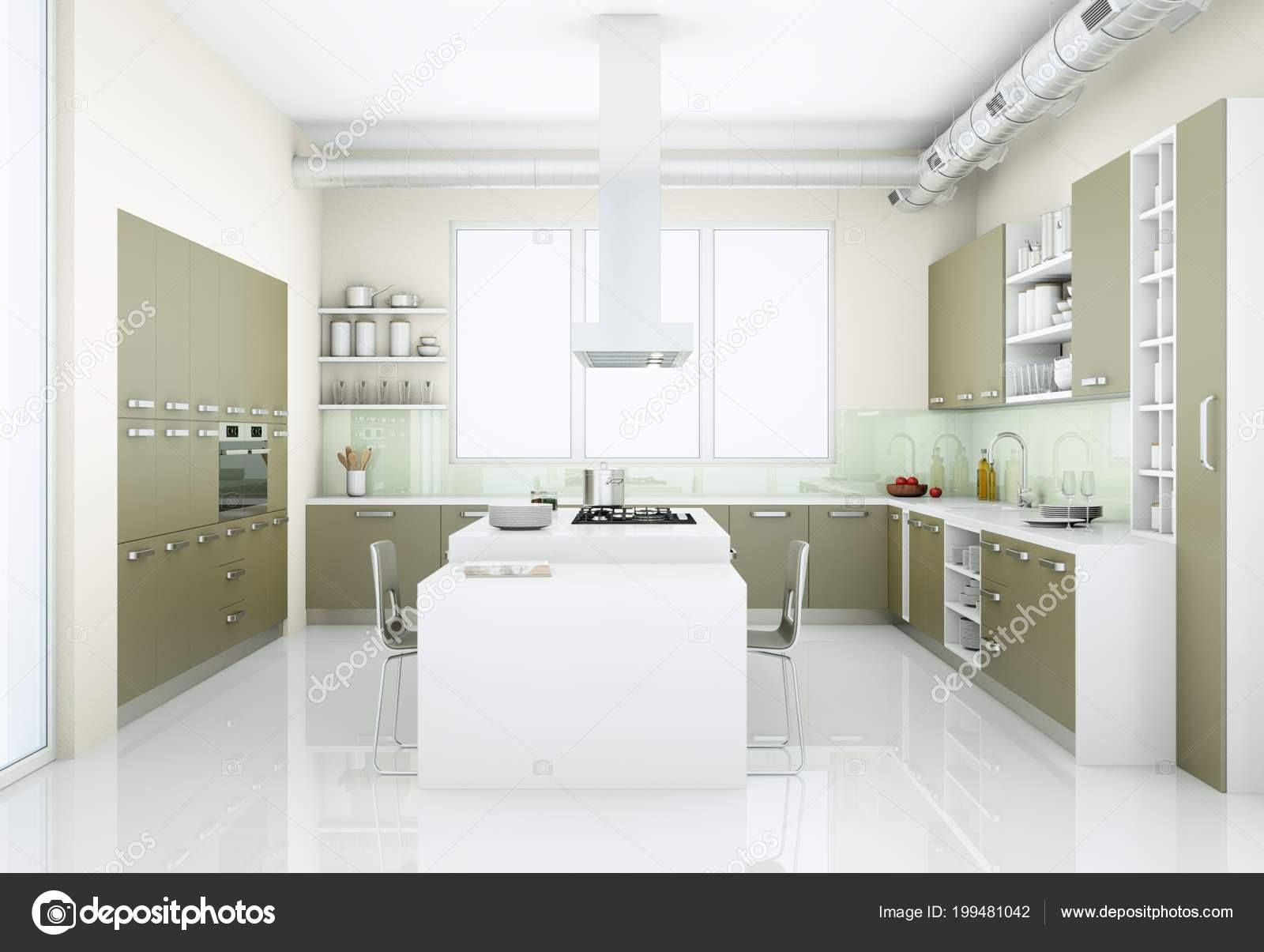 Grijze Moderne Keuken : Grijze moderne keuken in hok met grote ramen u2014 stockfoto © virtua73