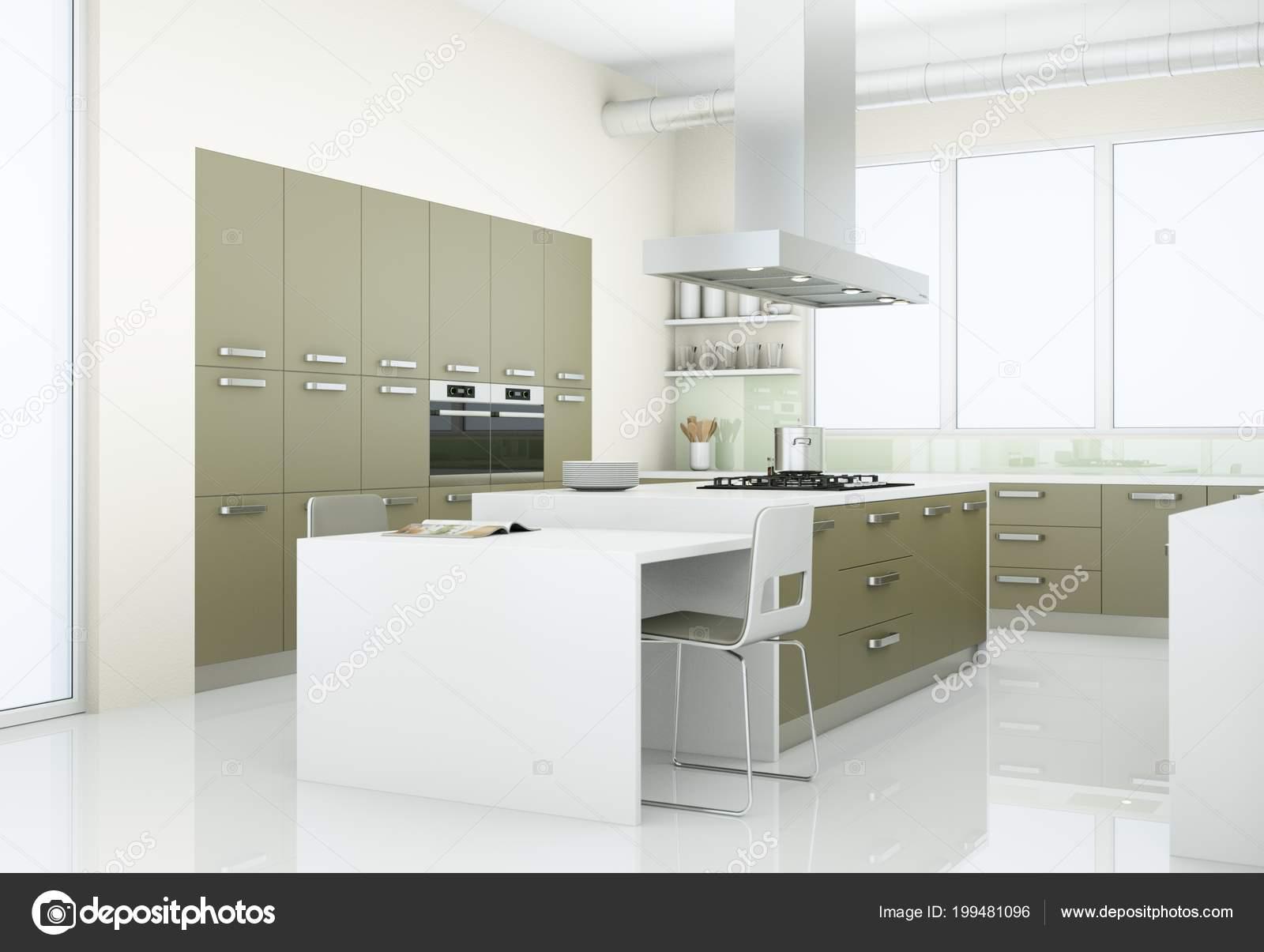 Moderne Keuken Grijs : Grijze moderne keuken in hok met grote ramen u stockfoto