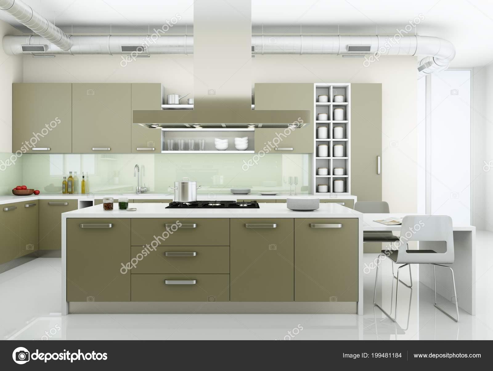 Cucina moderna grigio in soppalco con grandi finestre — Foto Stock ...