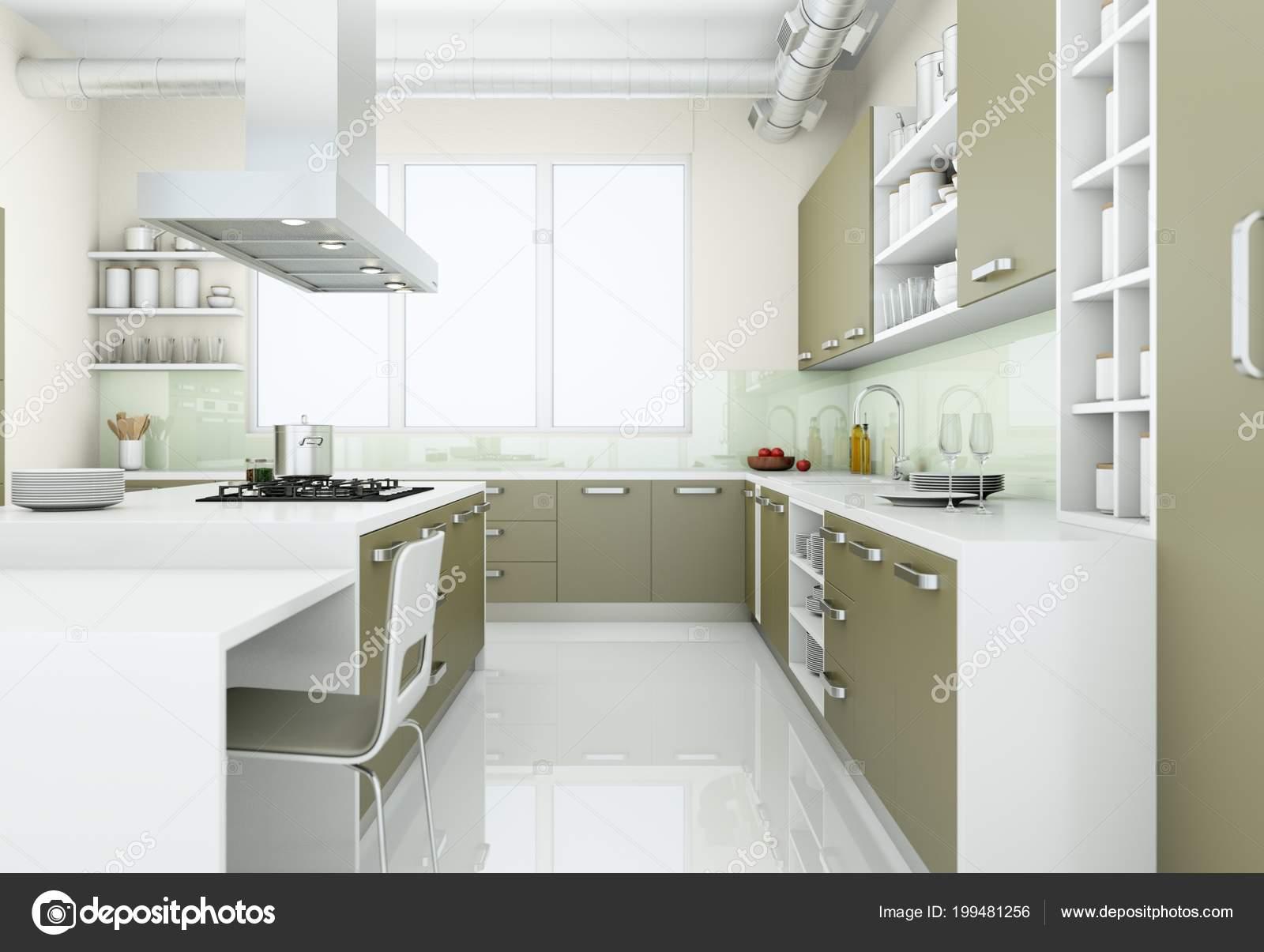 Szary Nowoczesna Kuchnia Loft Dużymi Oknami Ilustracja