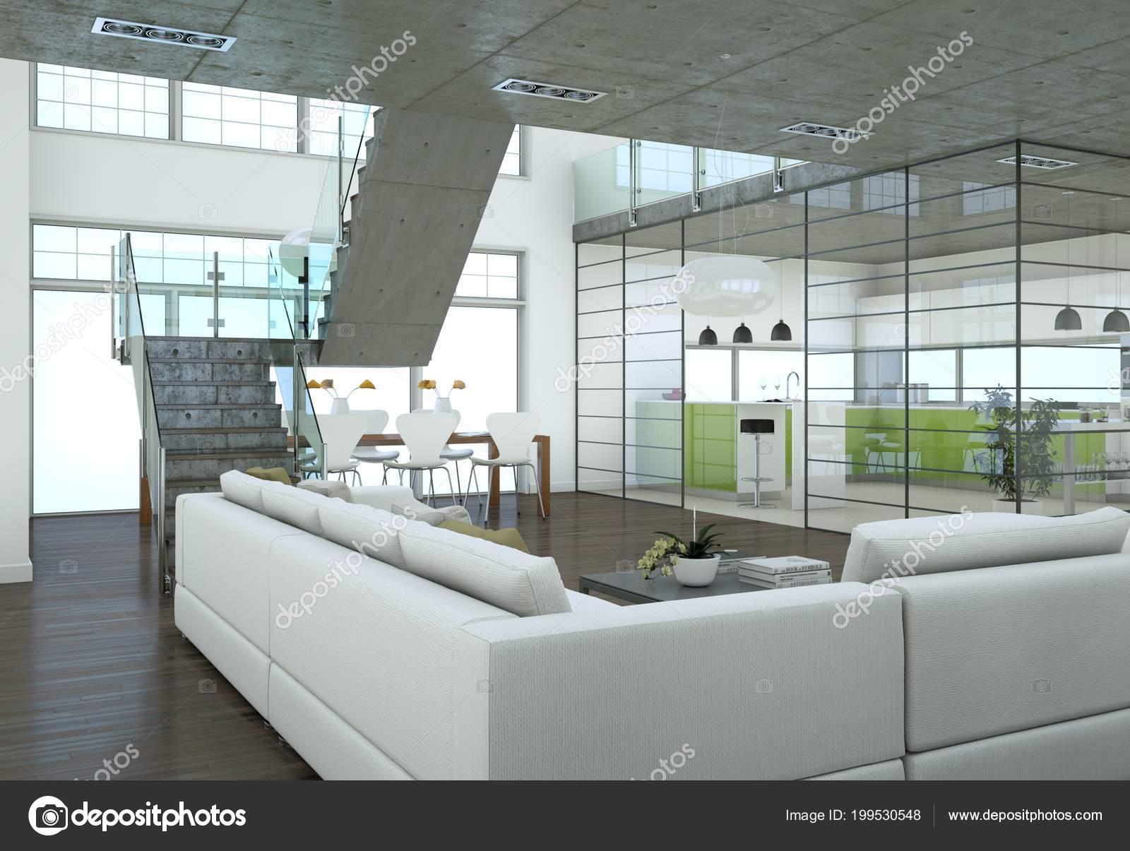 Minimalistic Loft Interior Design Sofas Concrete Walls Rendering Stock Photo