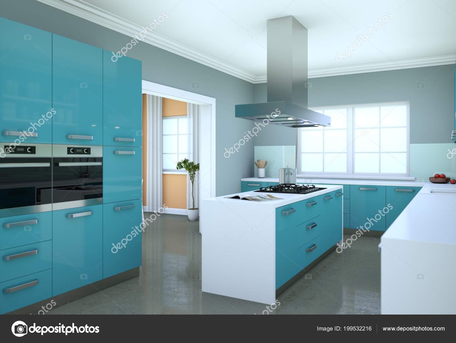 Cucina Moderna Blu.Cucina Moderna Blu In Un Piatto Con Un Bel Design Foto