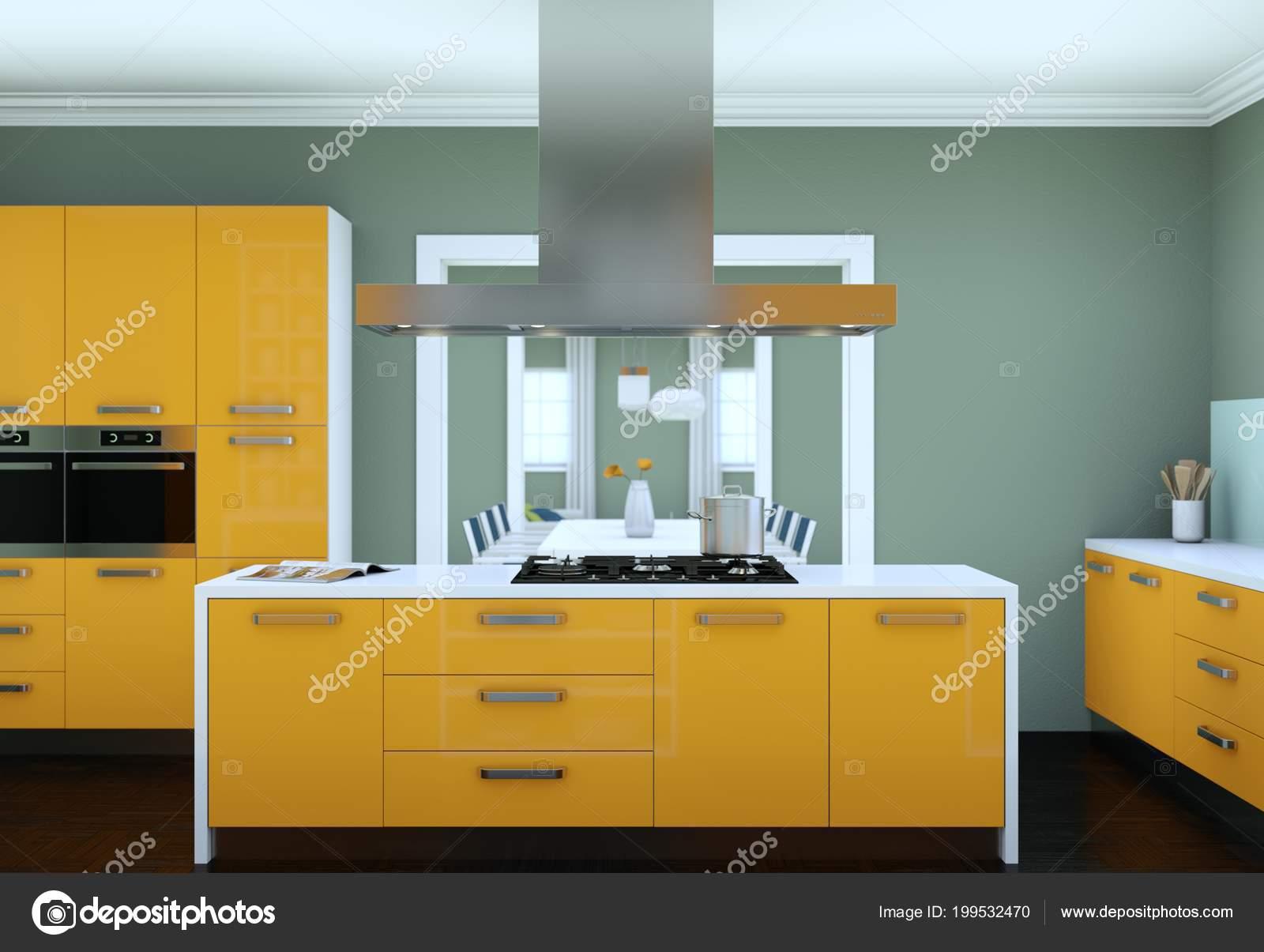 3D Abbildung Des Gelben Moderne Küche In Einer Wohnung Mit Schönem Design U2014  Foto Von ...
