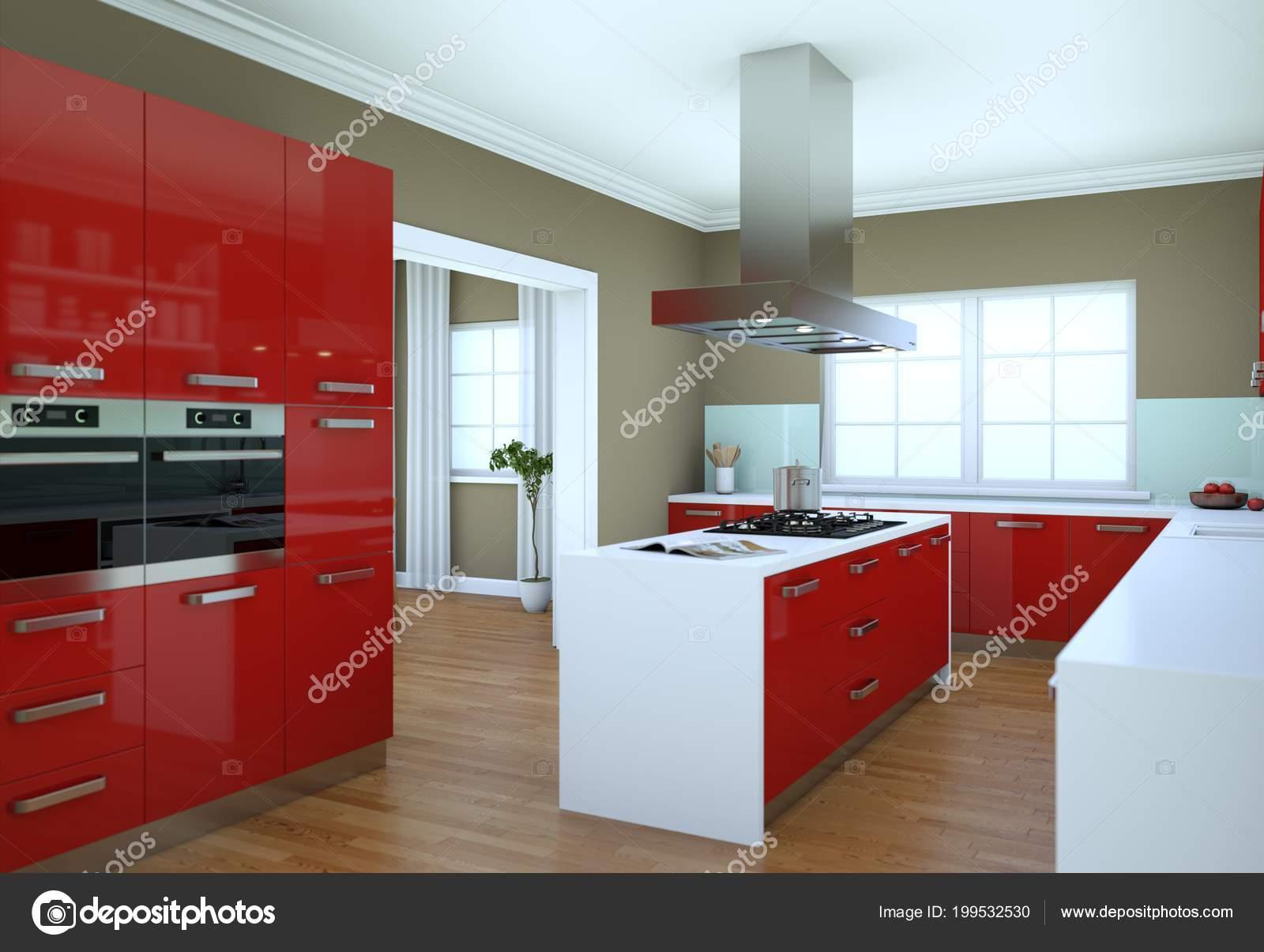 Cucina rossa moderna in un piatto con un bel design — Foto ...