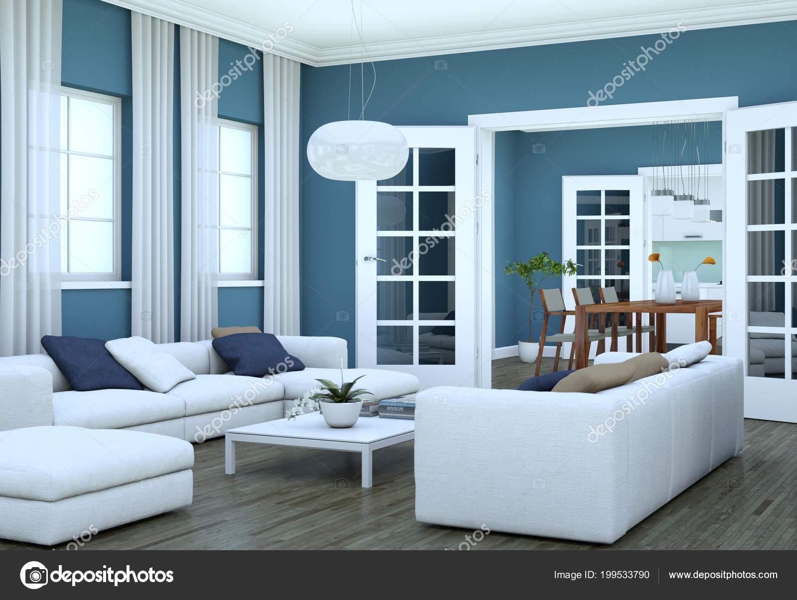 Diseño de interiores moderno luminoso living-comedor con ...