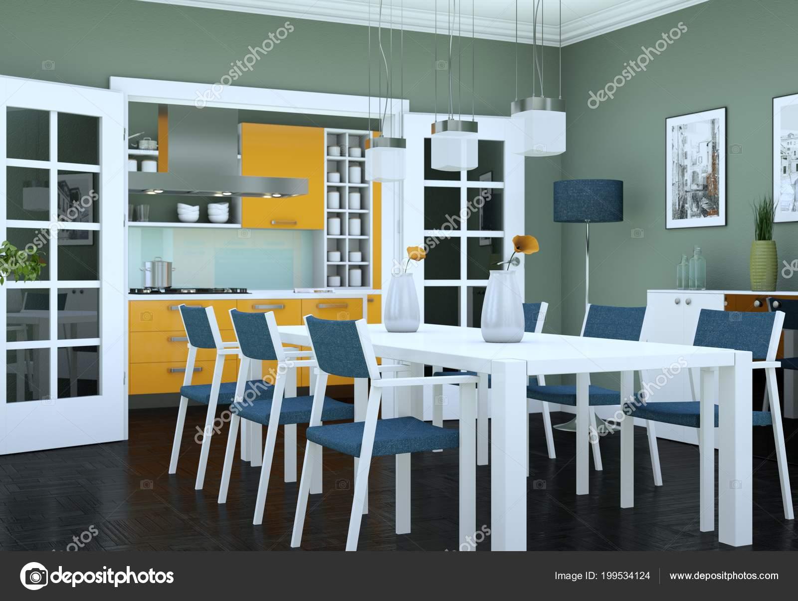 Salle Manger Design Intérieur Appartement Moderne Illustration U2014 Photo