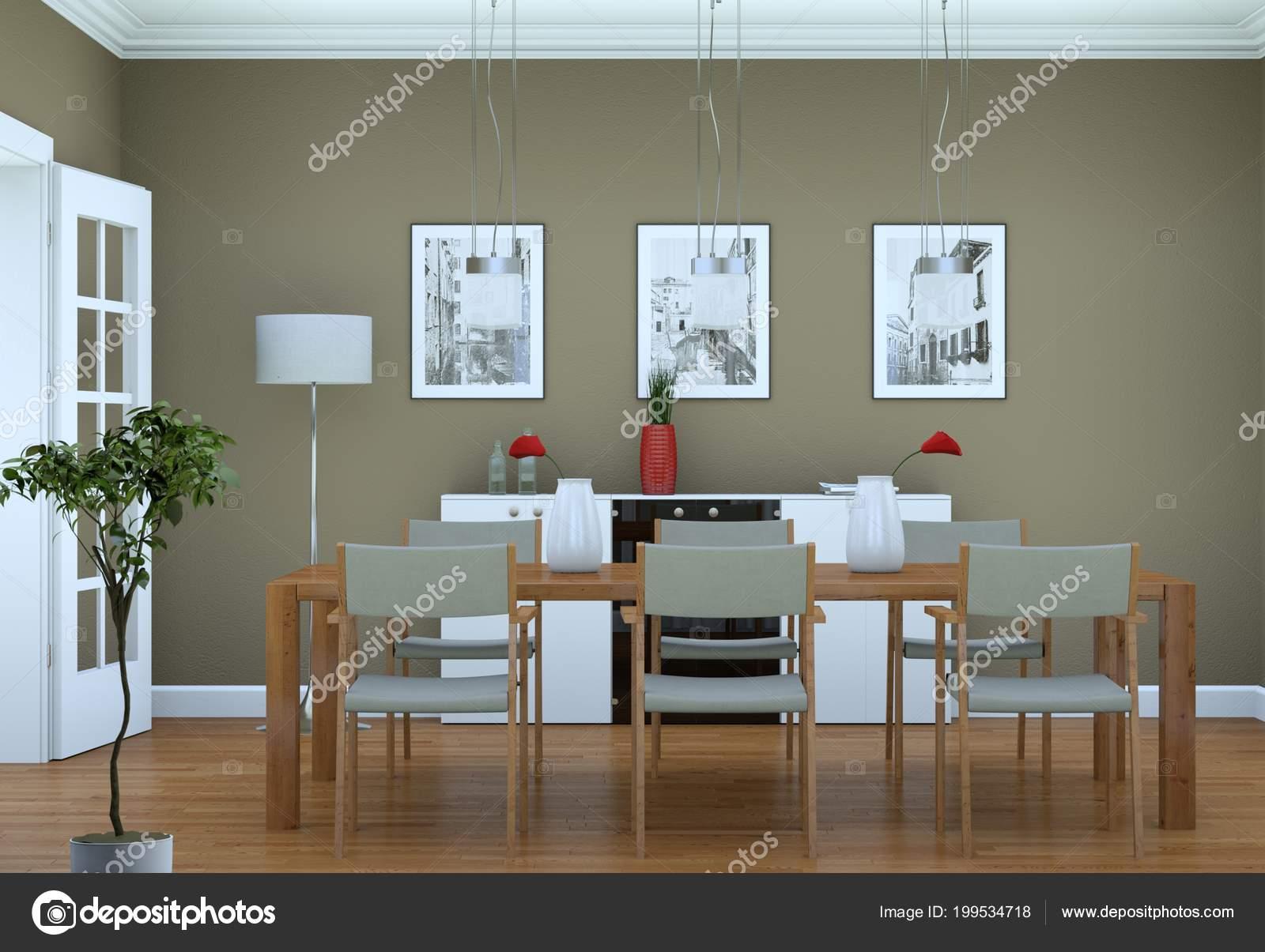 Arredamento sala da pranzo in appartamento moderno — Foto ...
