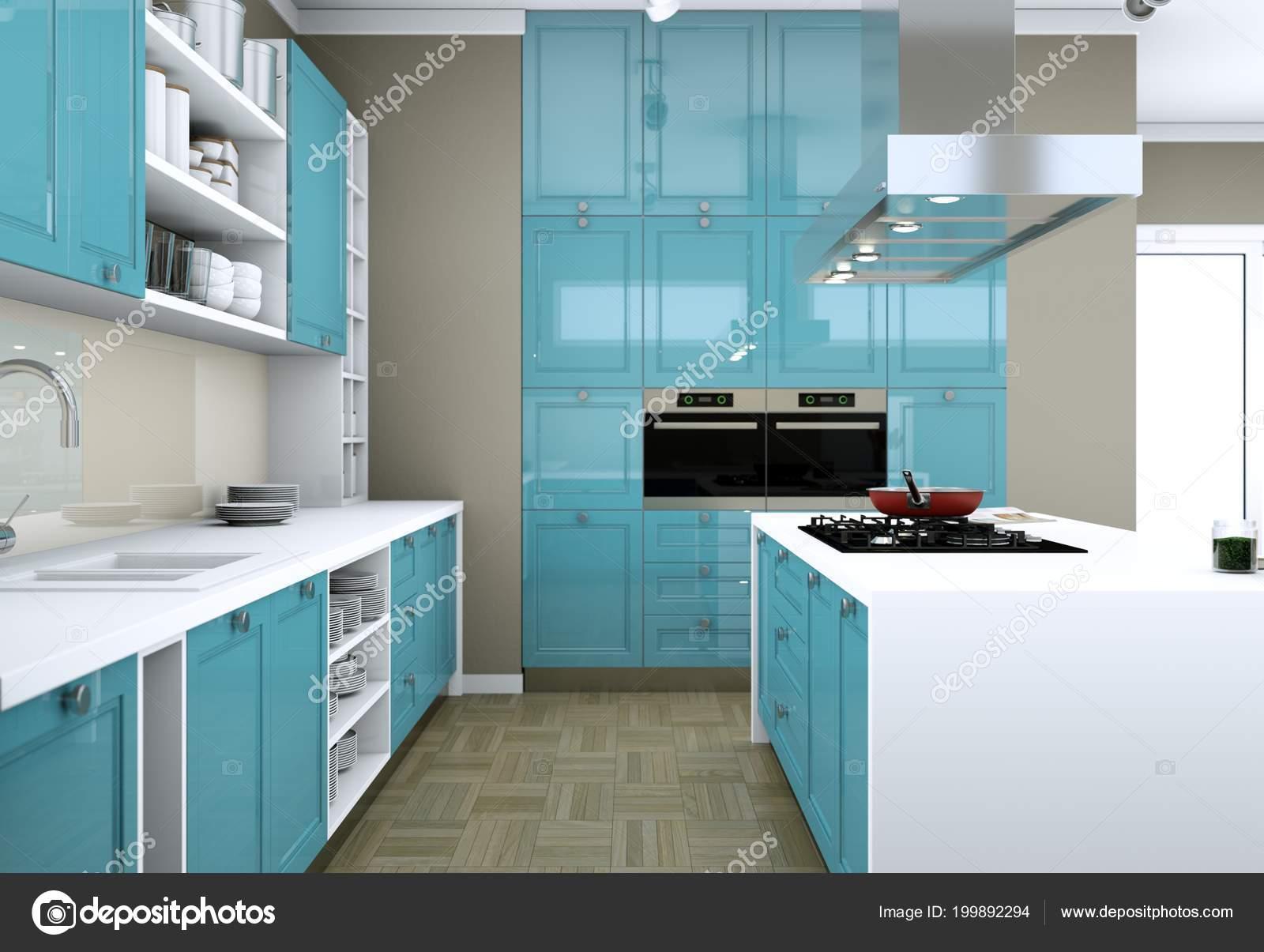 Cucina Blu Moderna.Cucina Moderna Blu In Un Piatto Con Un Bel Design Foto