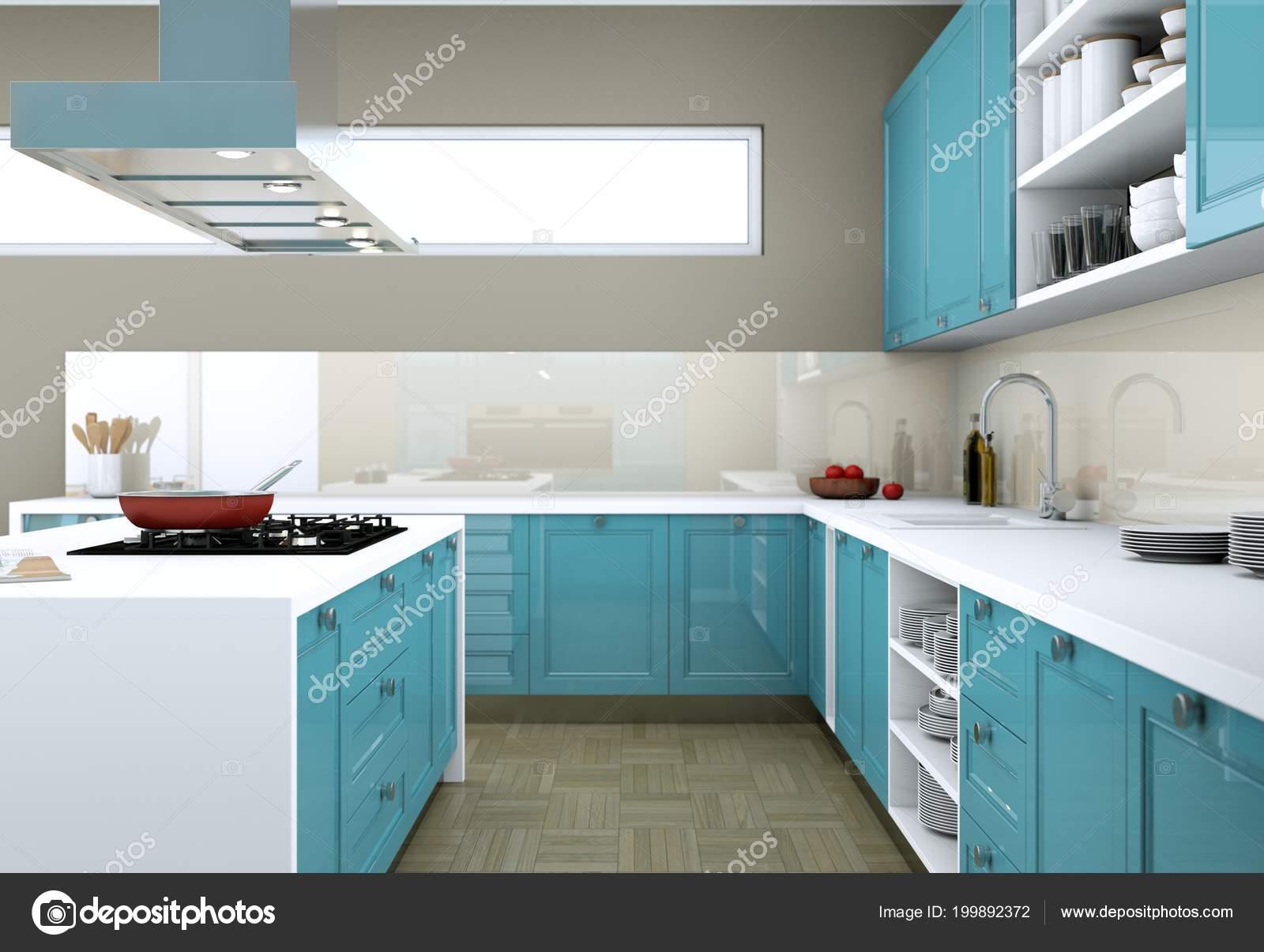Blaue moderne Küche in einer Wohnung mit schönem design ...