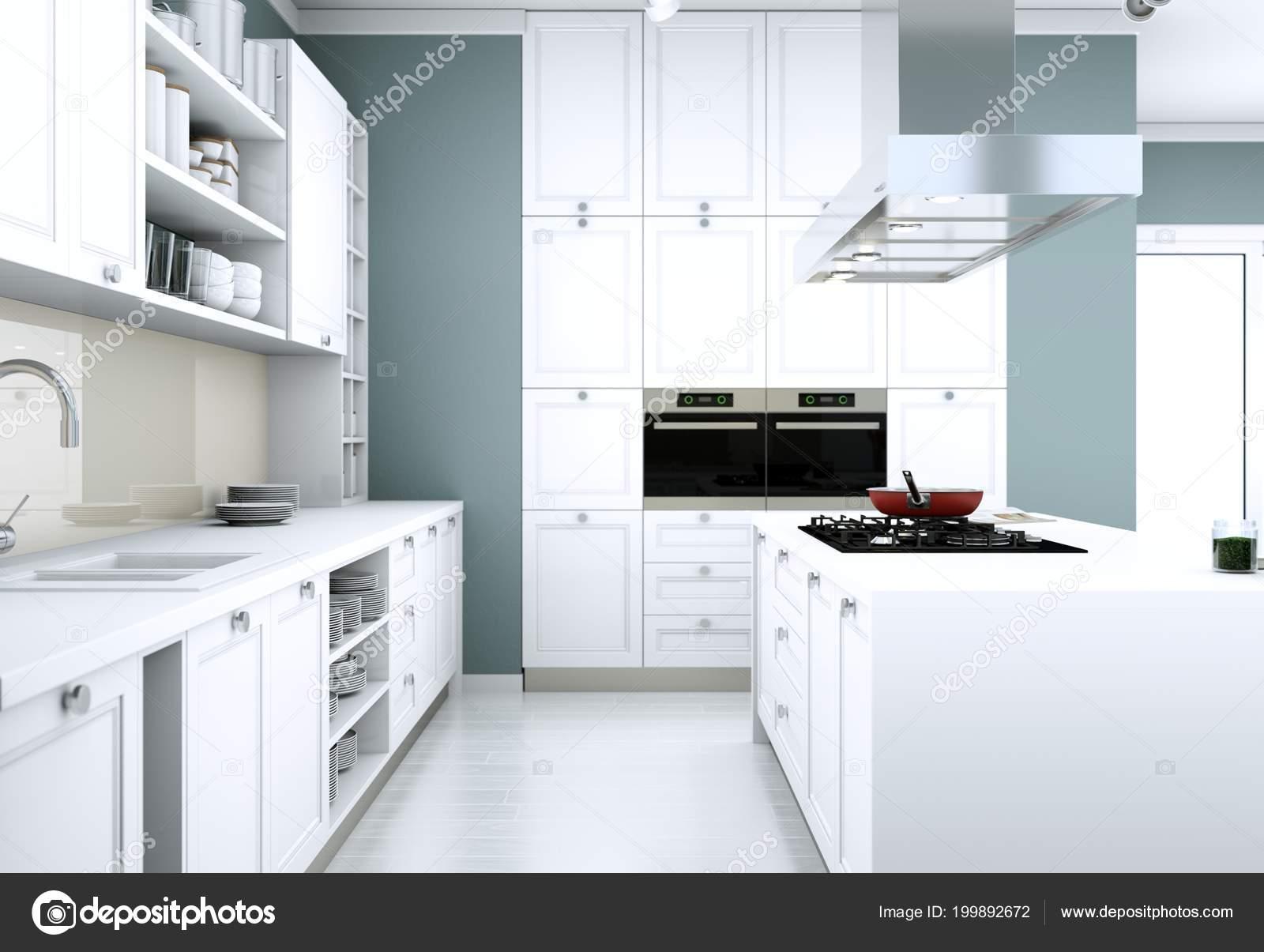 Cuisine moderne blanche dans un appartement avec beau design ...
