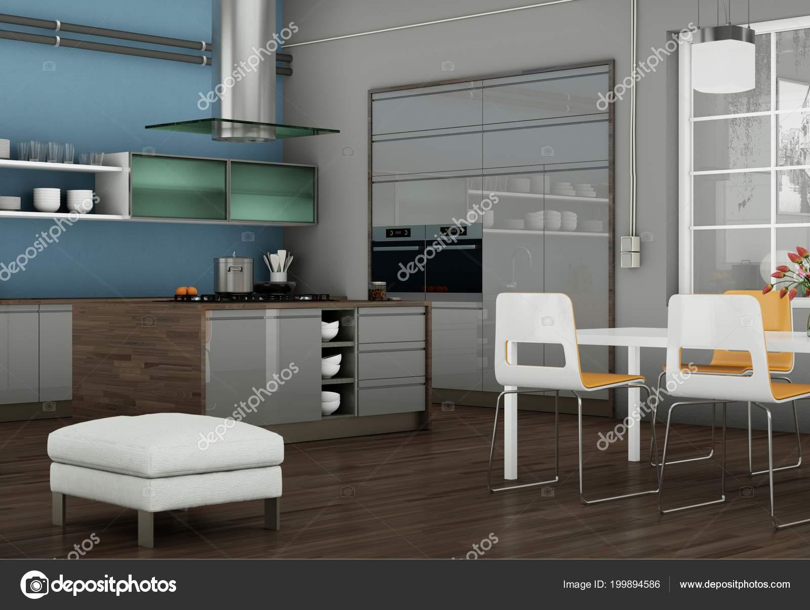 Ilustracja Szary Nowoczesna Kuchnia Loft Piękny Design