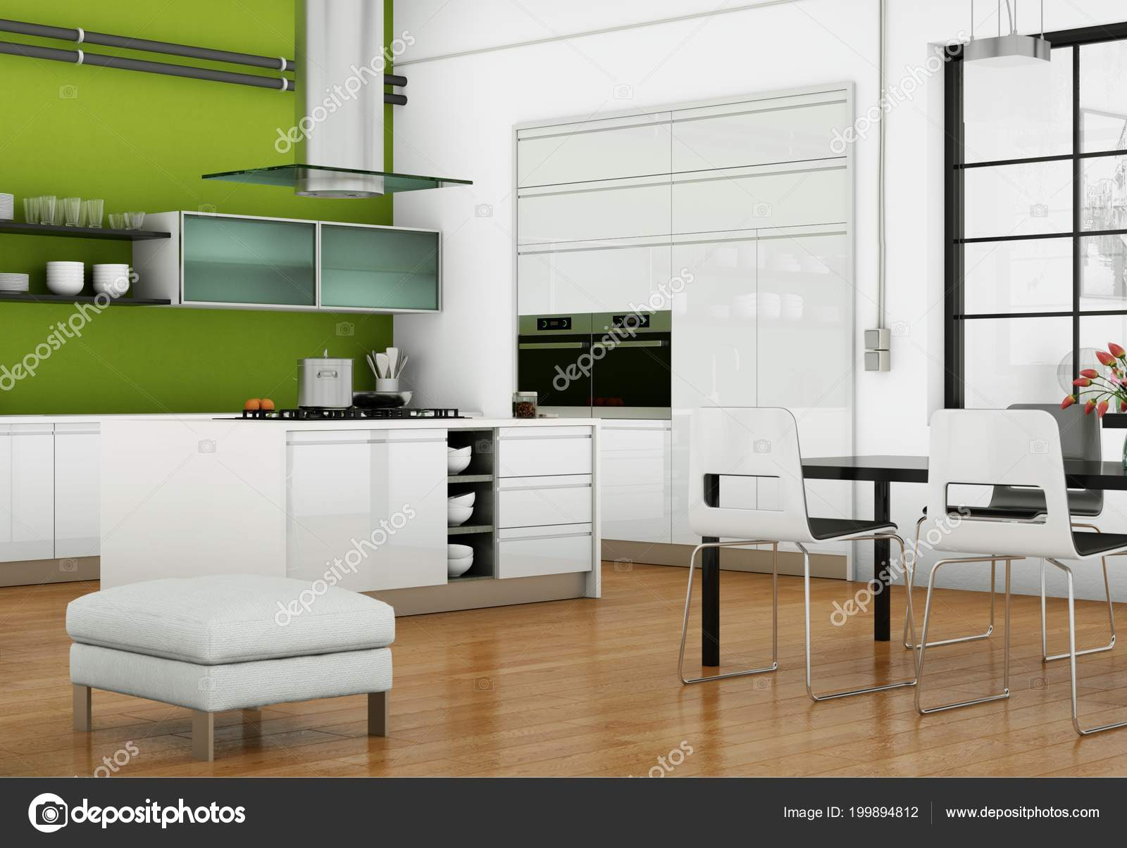 Cucina moderna bianca in un loft con una parete verde — Foto Stock ...