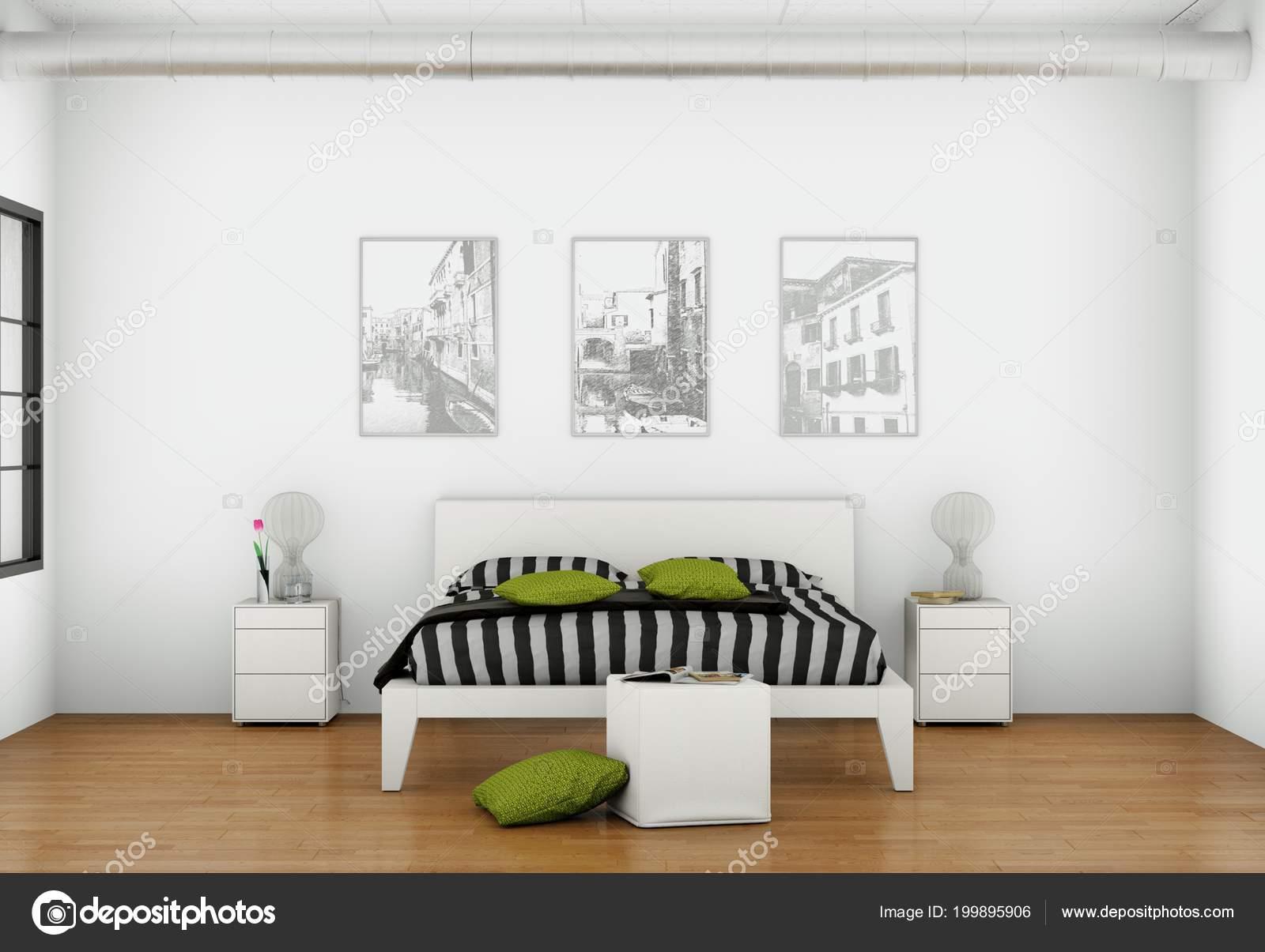 Camera da letto moderna con 3 cornici sulla parete foto stock virtua73 199895906 - Parete camera da letto moderna ...