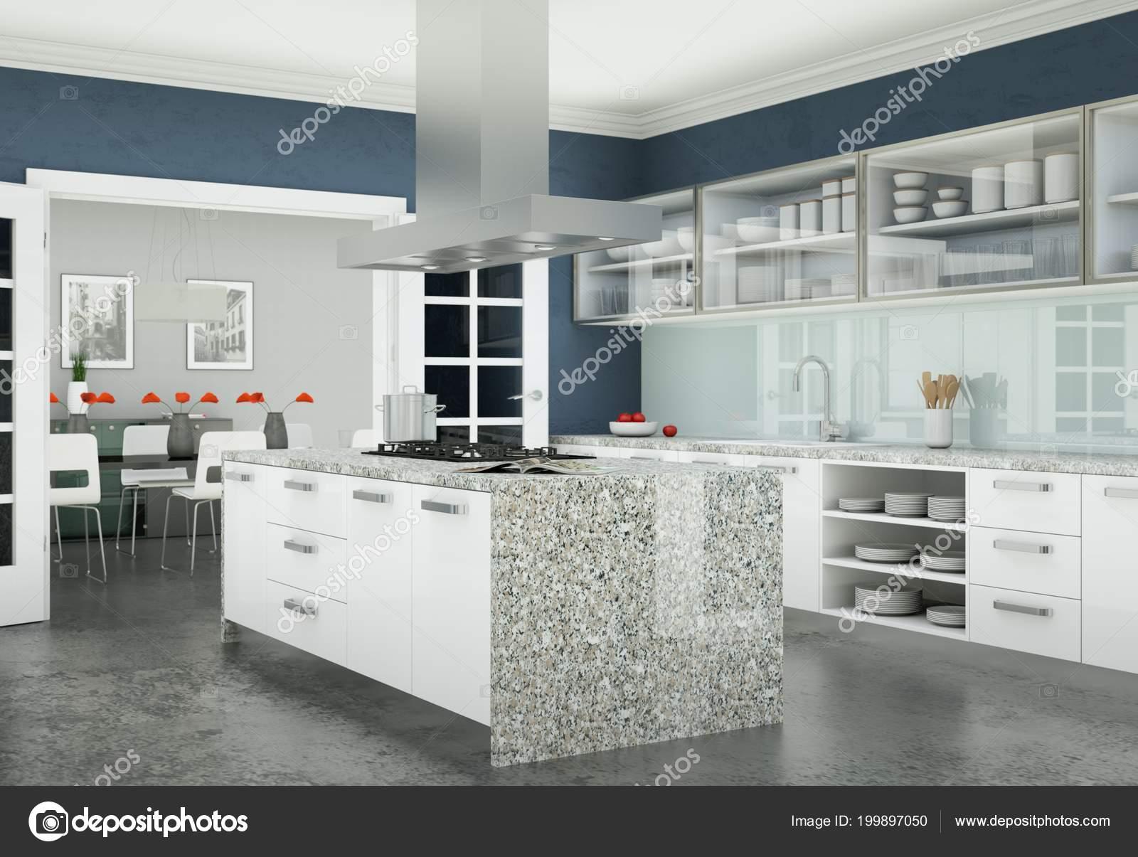 Witte Keuken Design : Moderne witte keuken in een appartement met mooi design