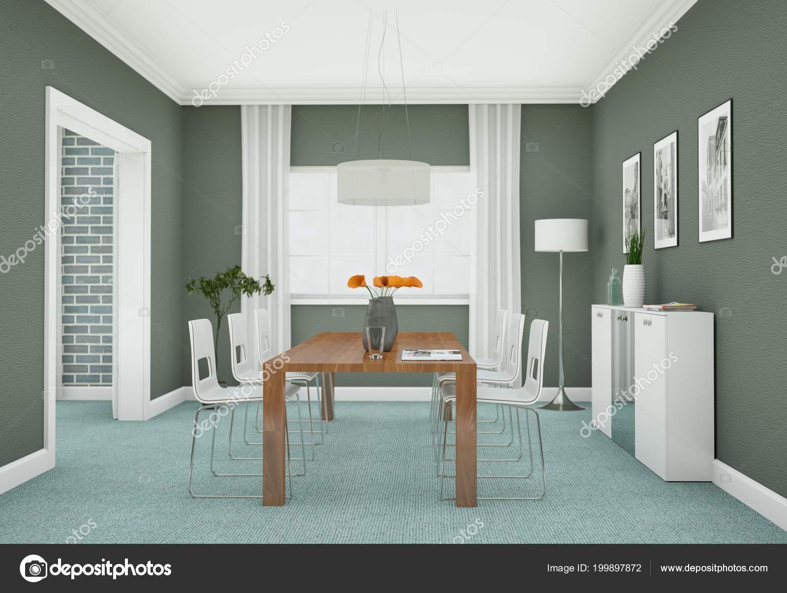 Agreable Salle à Manger Design Du0027intérieur En Appartement Moderne Illustration 3d U2014  Image De Virtua73