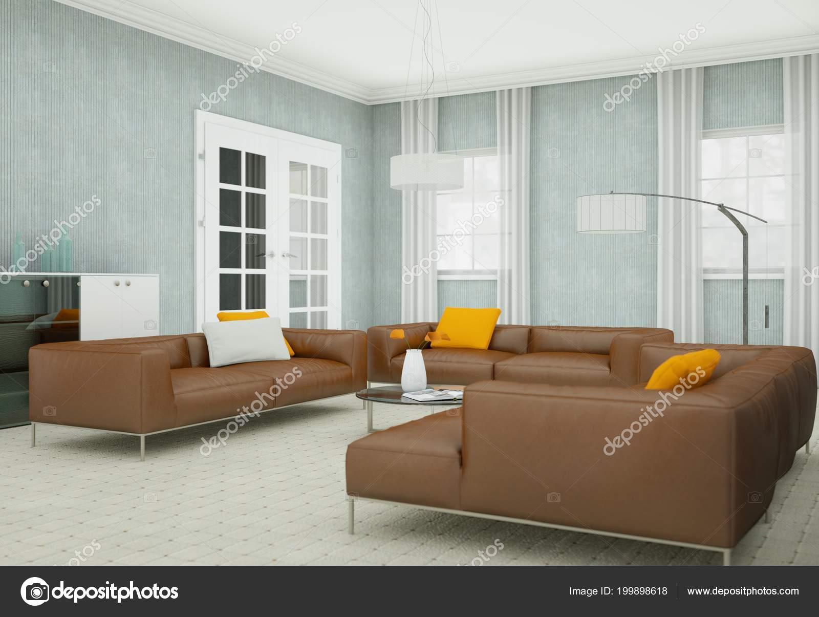 Wunderbar Moderne Wohnzimmer Interieurdesign Mit Braunen Ledersofas U2014 Stockfoto