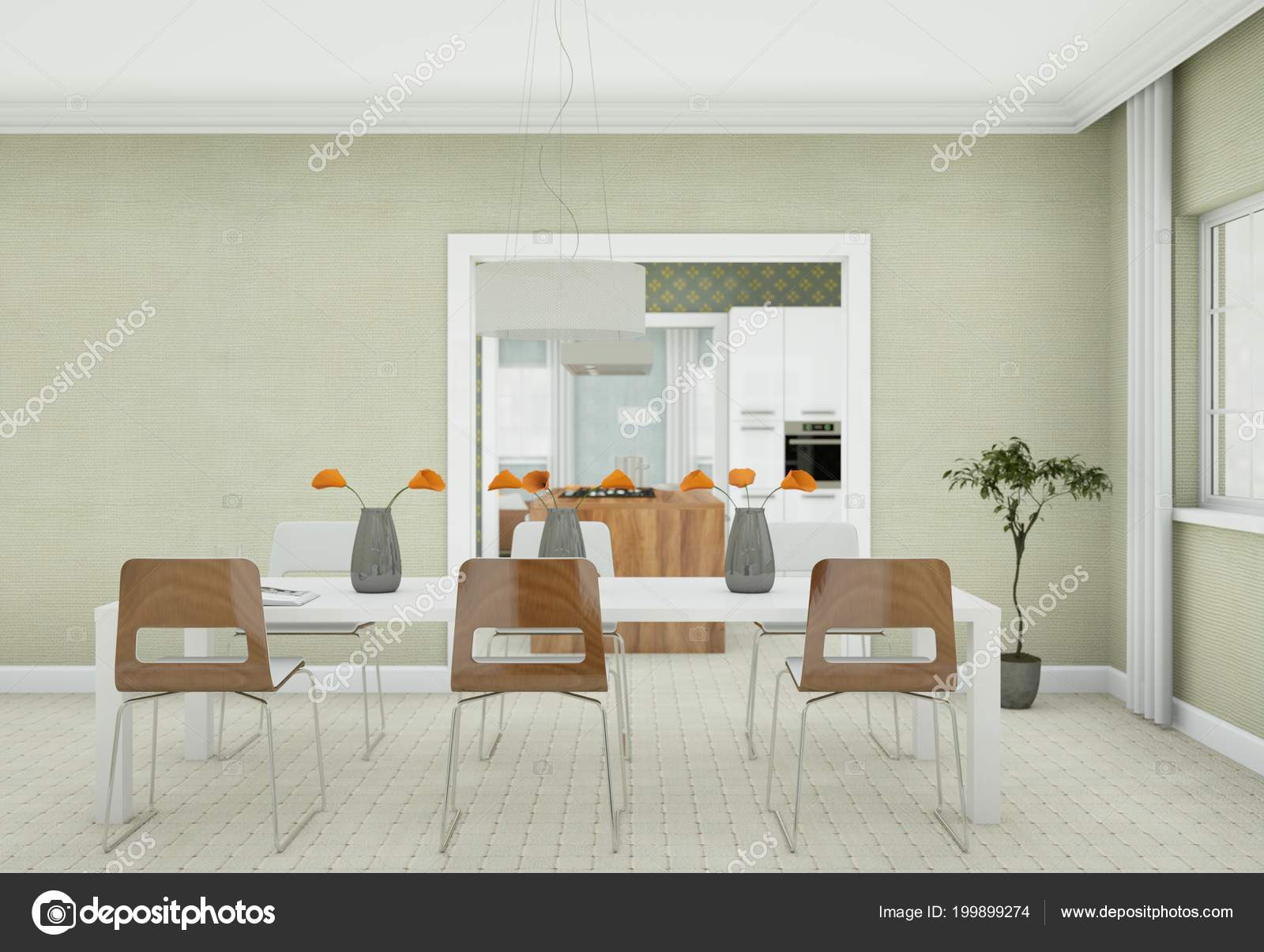 Luminoso comedor diseño de interiores en Apartamento moderno — Fotos ...