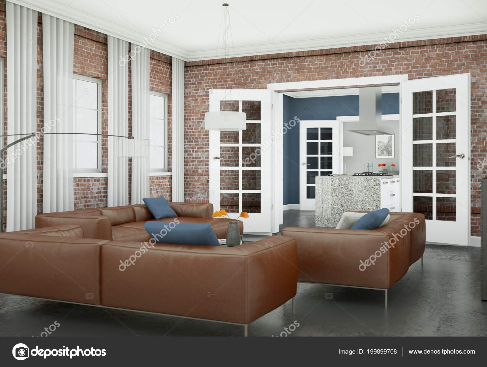 Moderne Wohnzimmer Interieurdesign Mit Braunen Ledersofas U2014 Stockfoto
