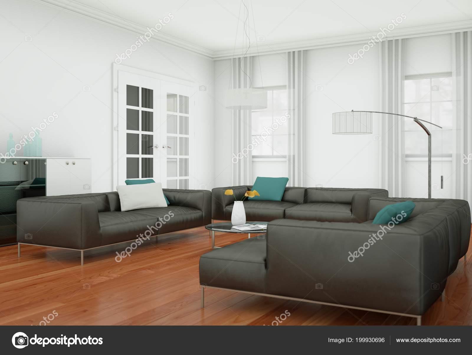Salone moderno interior design con divani in pelle marrone ...