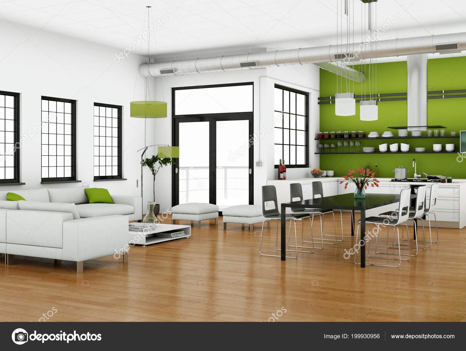 Diseño de interiores moderno luminoso living-comedor con sofás ...